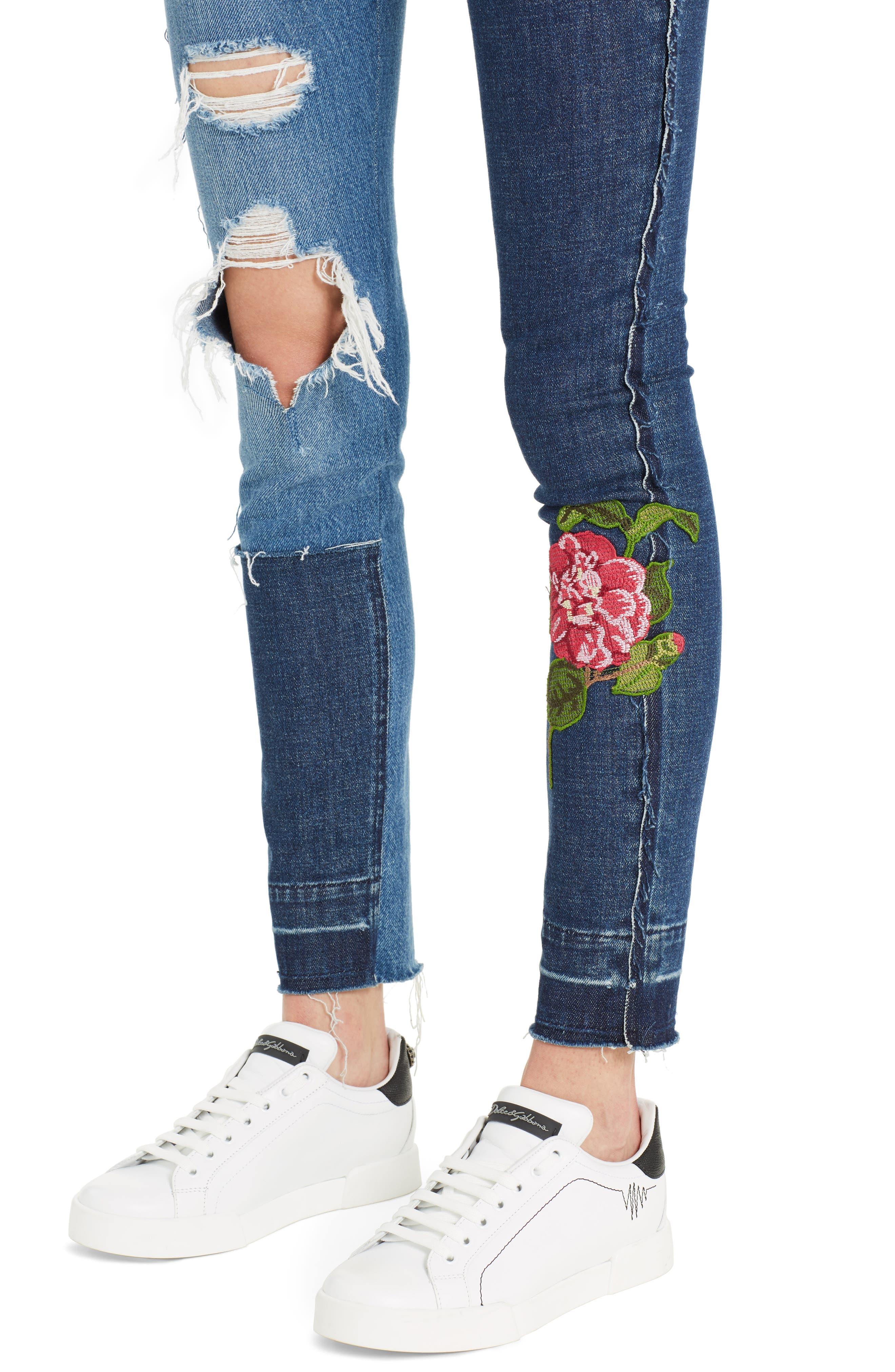 Embellished Patchwork Skinny Jeans,                             Alternate thumbnail 4, color,                             S9000 Denim