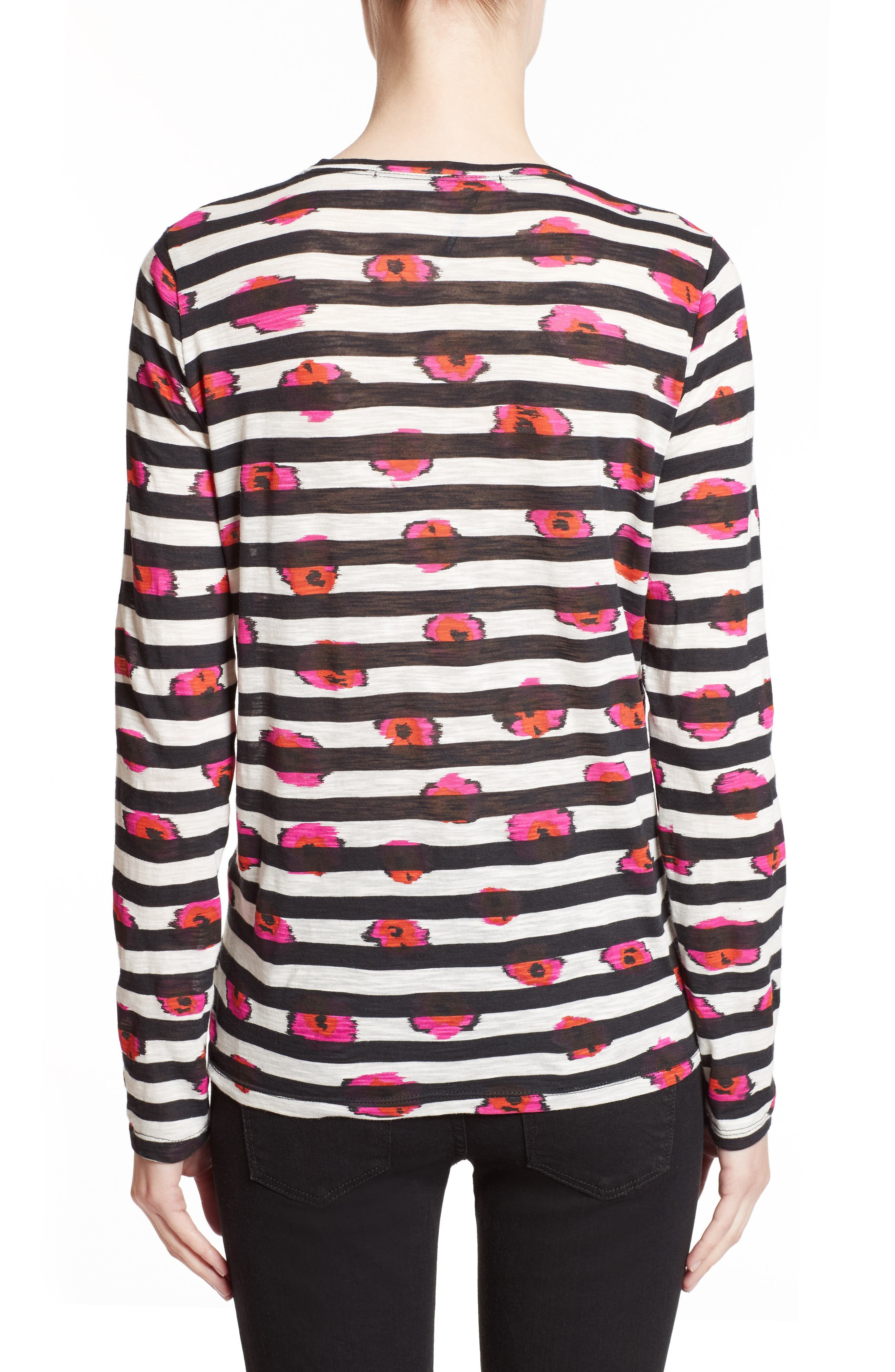 Print Tissue Jersey Tee,                             Alternate thumbnail 2, color,                             Electric Pink/ Pumpkin Pansy