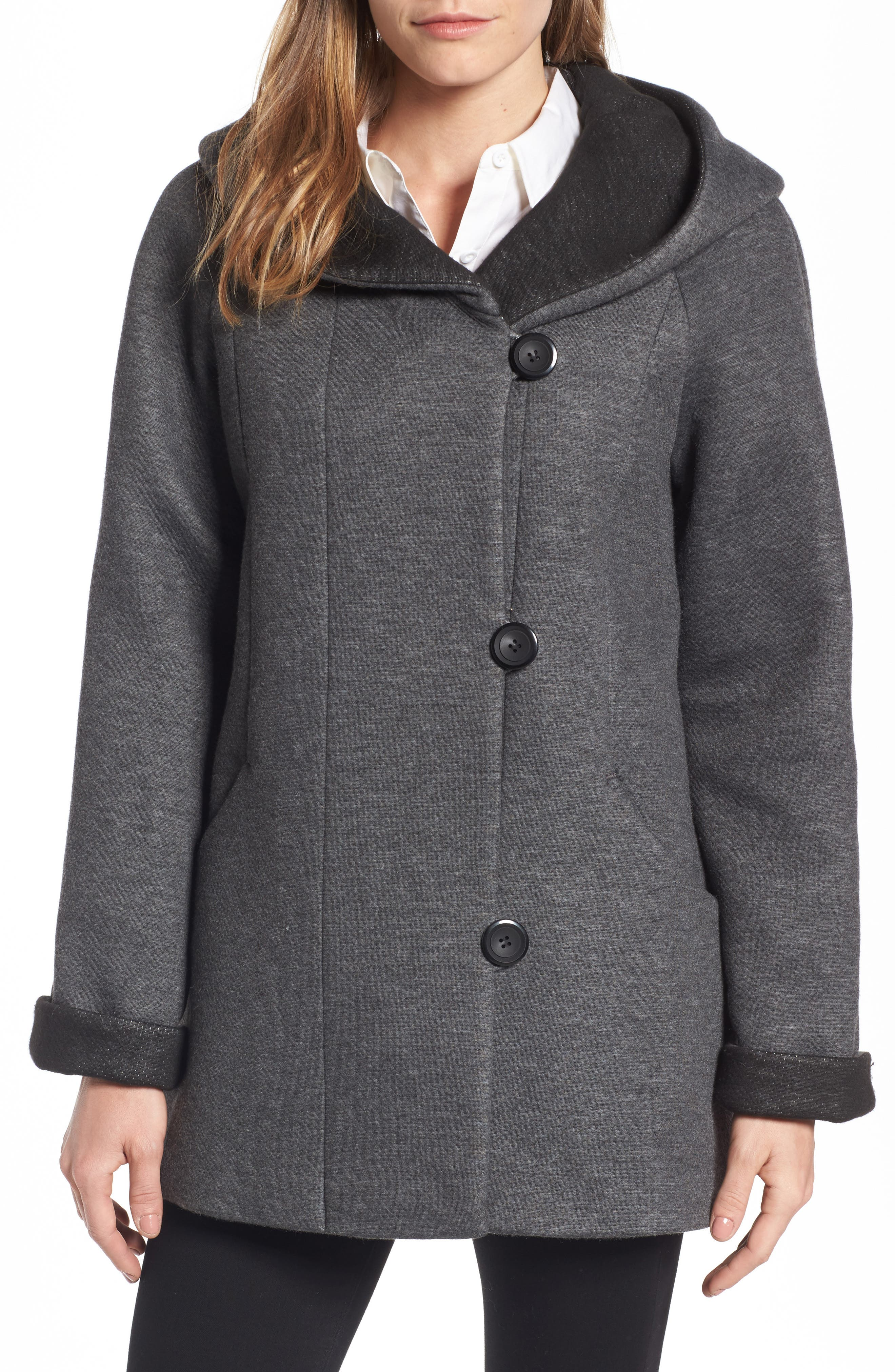 Hooded Double Face Knit Coat,                             Main thumbnail 1, color,                             Dark Heather