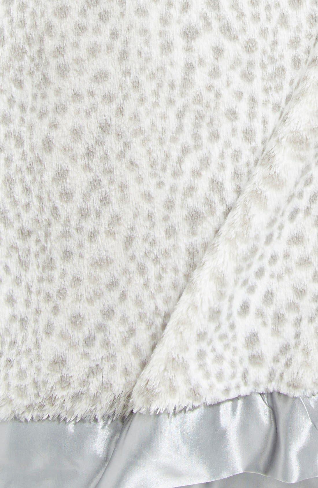 'Luxe Snow Leopard - Double' Faux Fur Throw,                             Alternate thumbnail 2, color,                             Silver