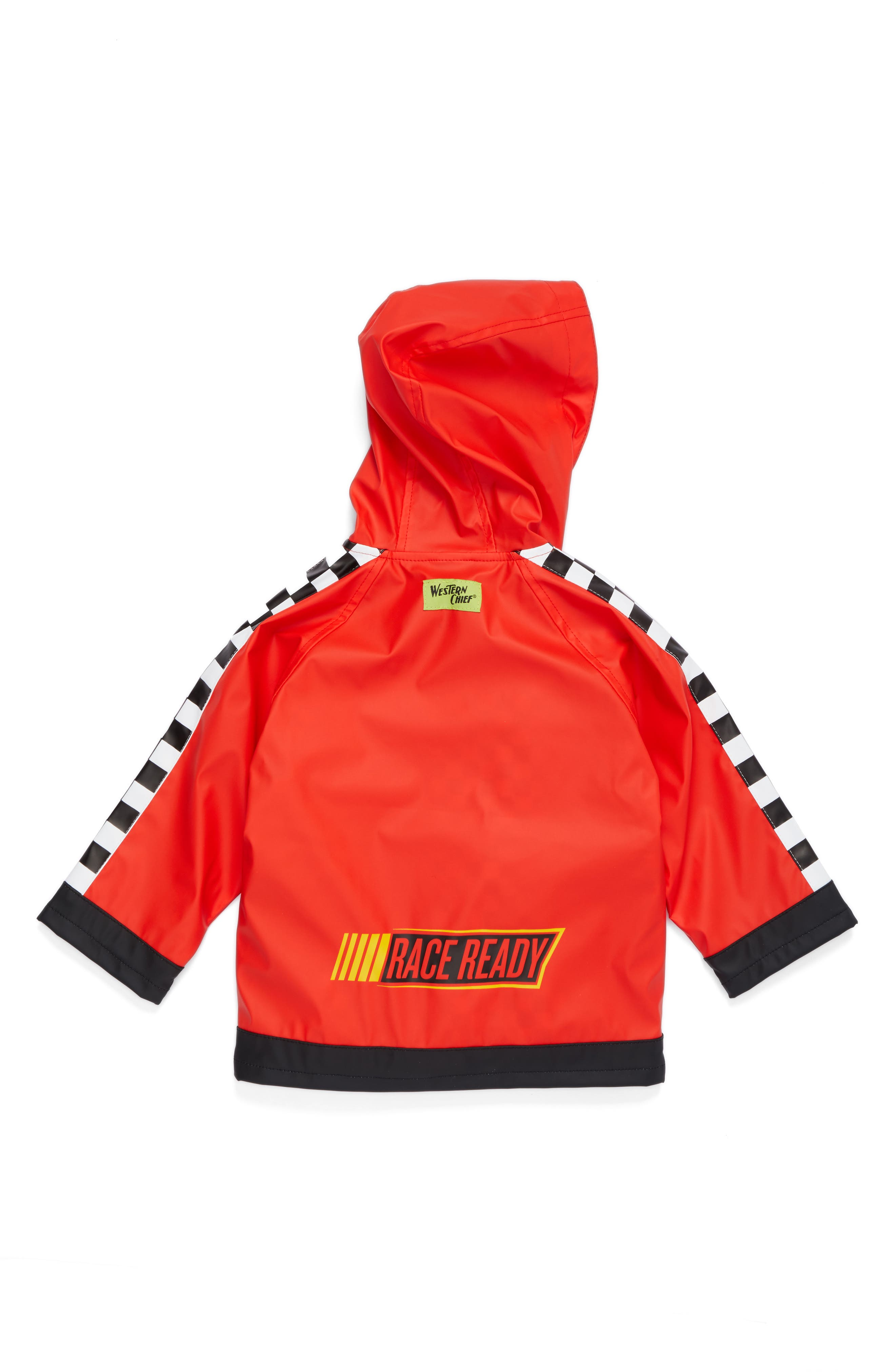 Lightning McQueen Hooded Raincoat,                             Alternate thumbnail 2, color,                             Red