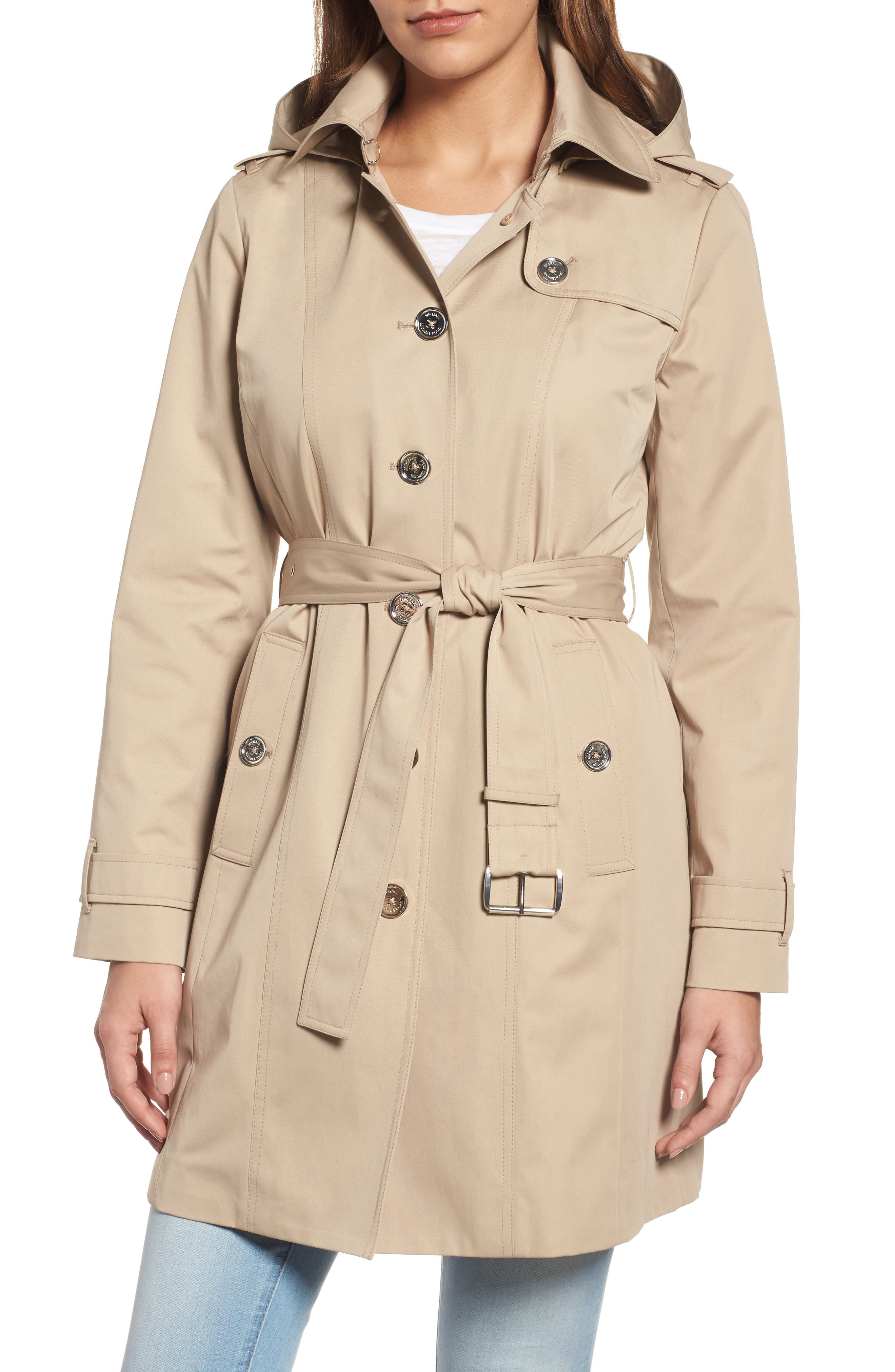 MICHAEL MICHAEL KORS Core Trench Coat with Removable Hood & Liner