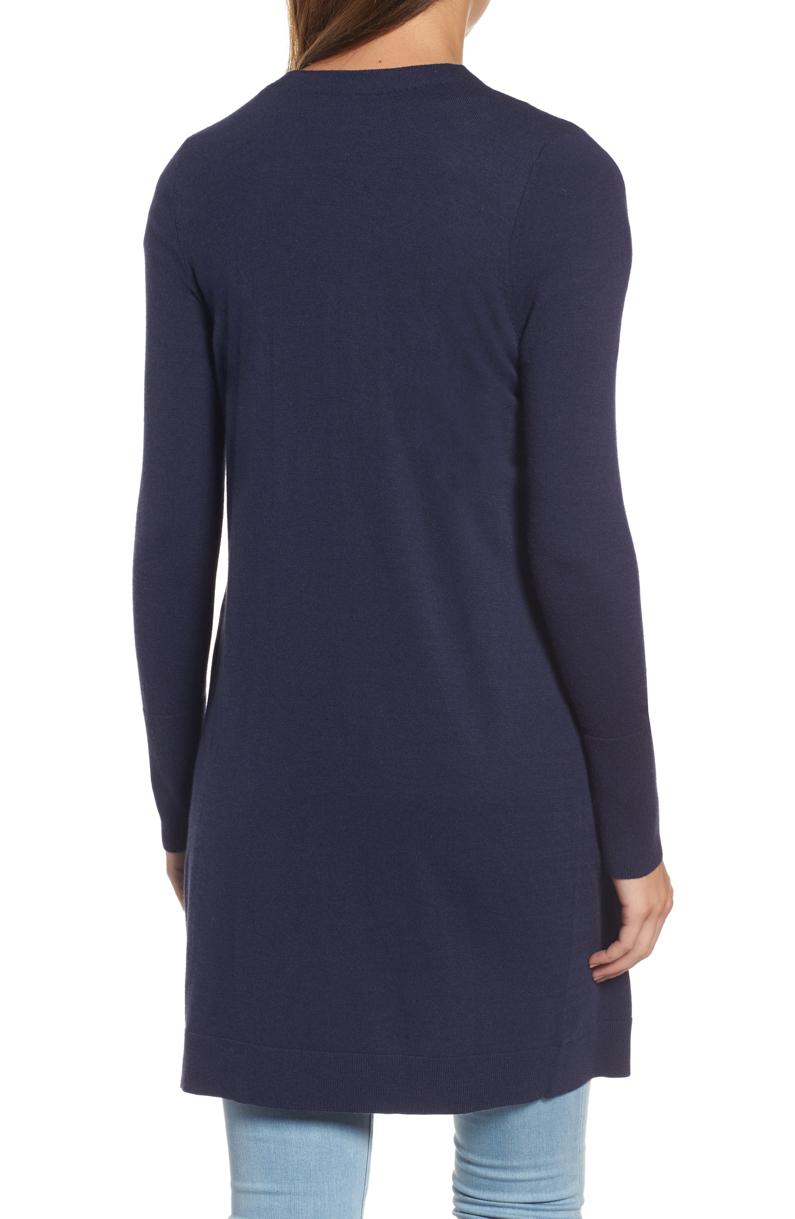 Alternate Image 2  - Halogen® Long Open Front Cardigan (Regular & Petite)