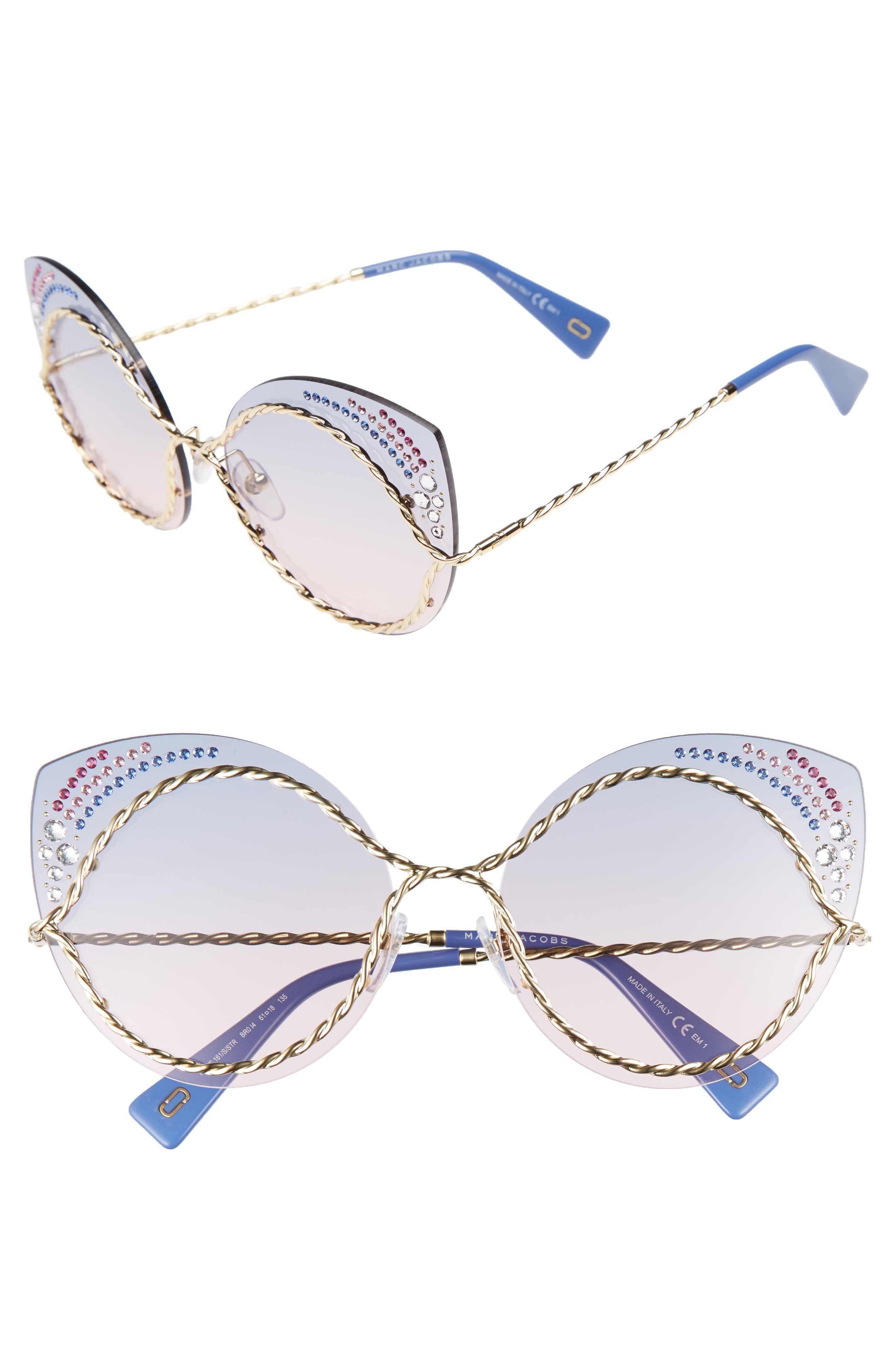 61mm Rimless Gradient Cat Eye Sunglasses,                         Main,                         color, Blue/ Pink