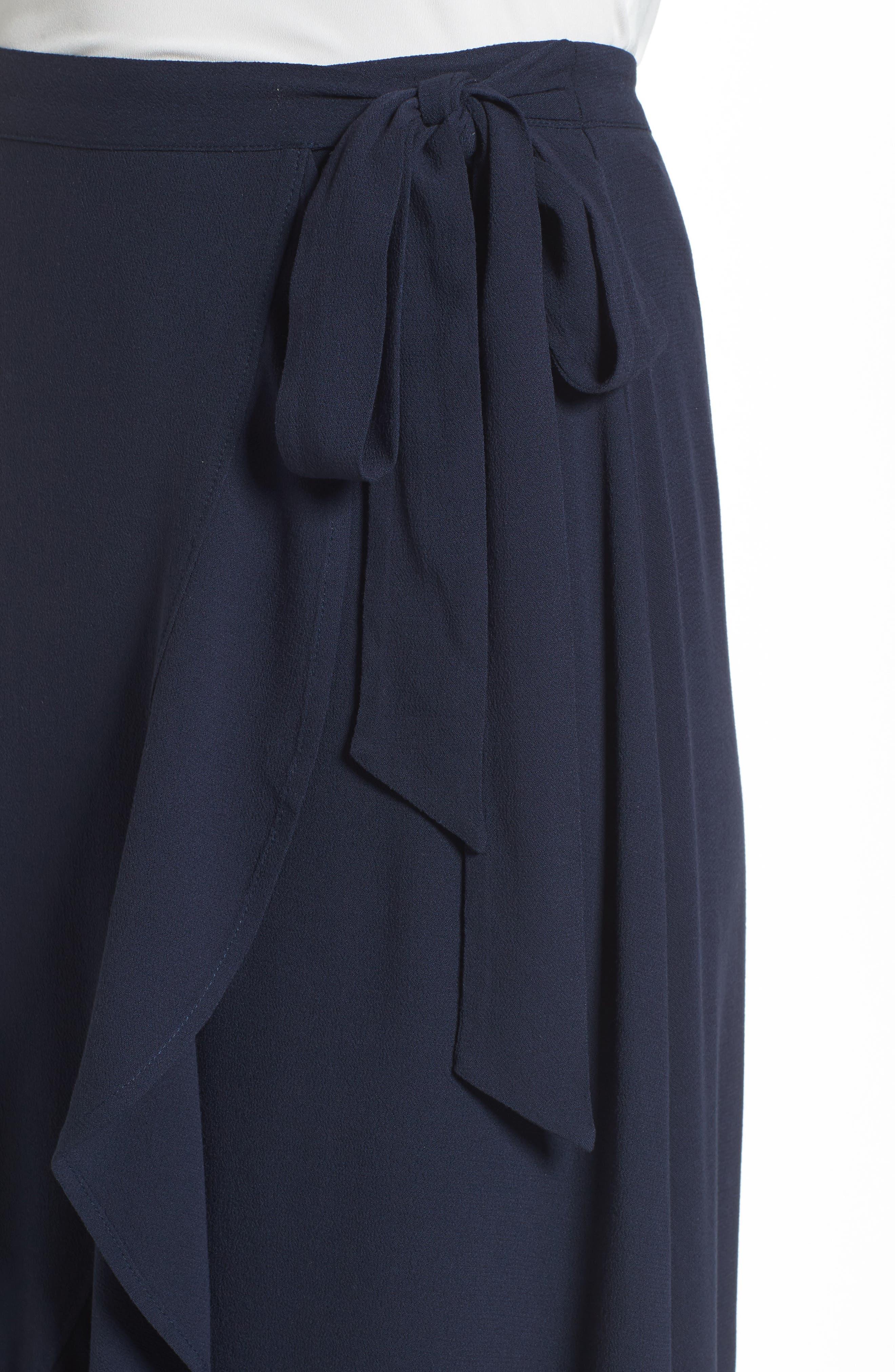 Ruffle Wrap Skirt,                             Alternate thumbnail 4, color,                             Navy Sapphire