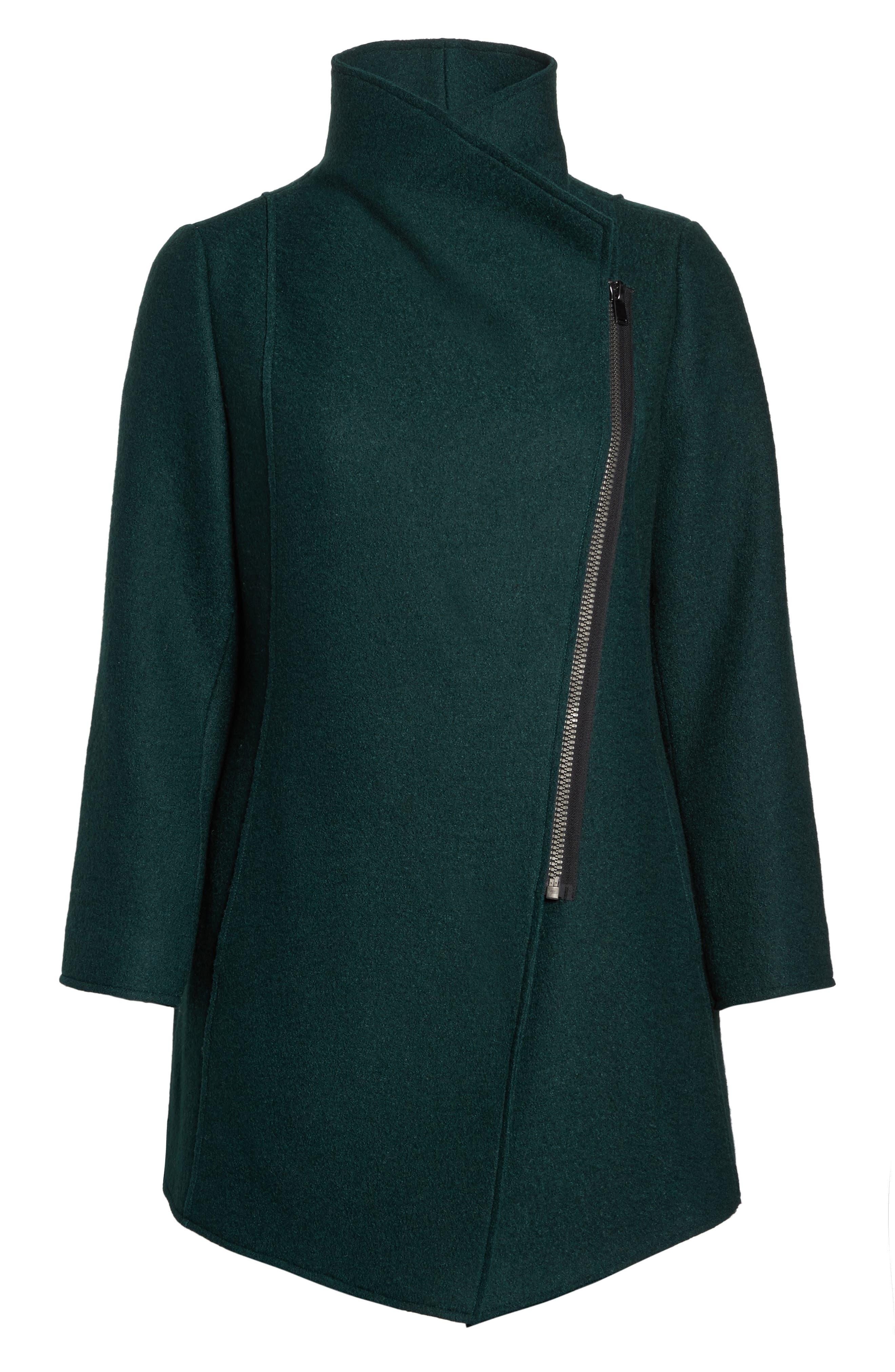 Asymmetrical Zip Boiled Wool Blend Coat,                             Alternate thumbnail 6, color,                             Green Ponderosa