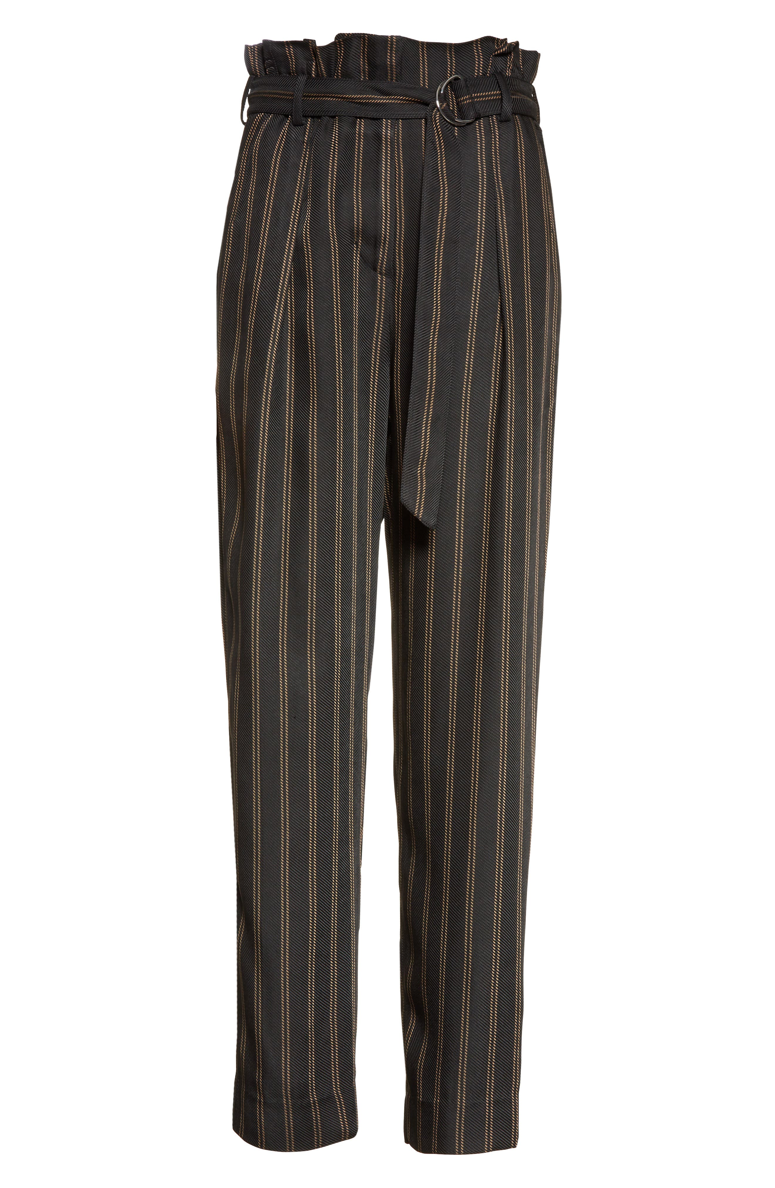 Belted Pleat Crop Pants,                             Alternate thumbnail 7, color,                             Black/ Tan