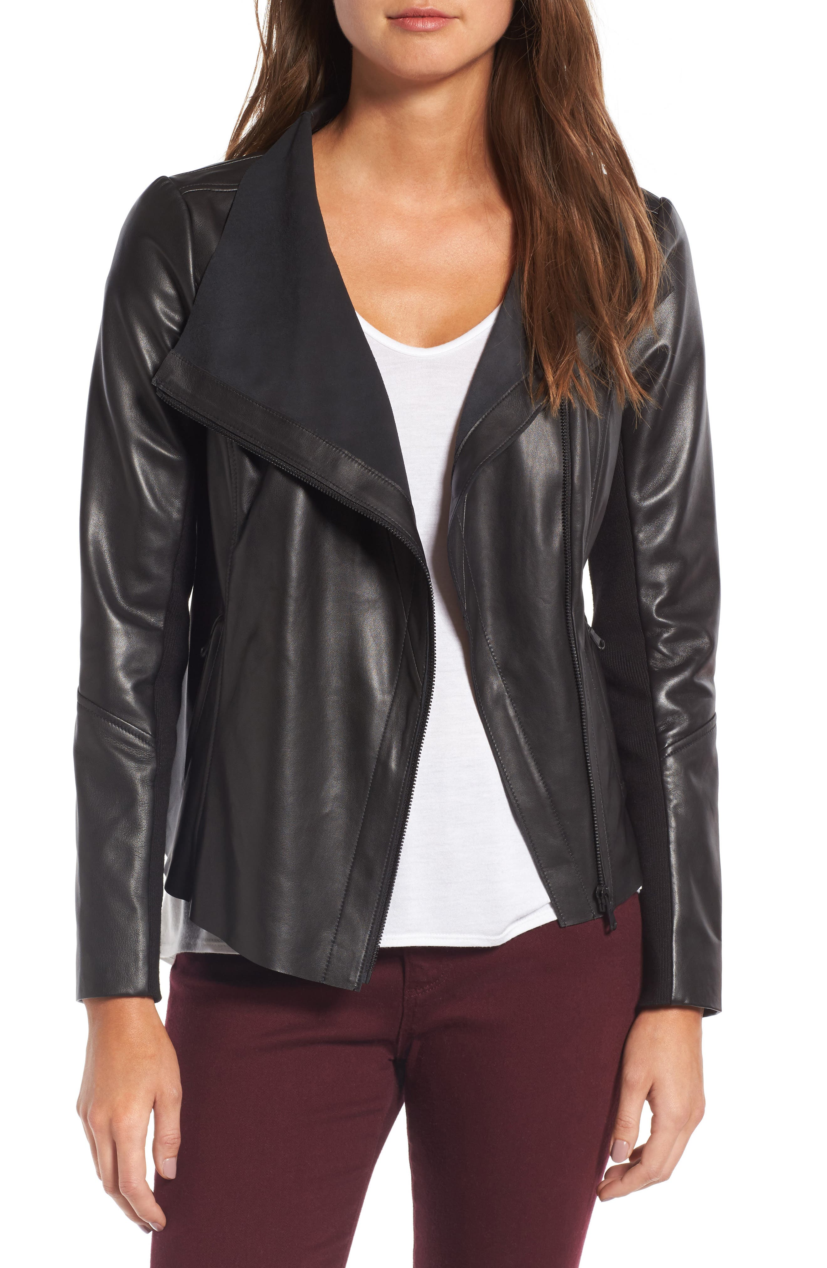 Raw Edge Leather Jacket,                         Main,                         color, Black