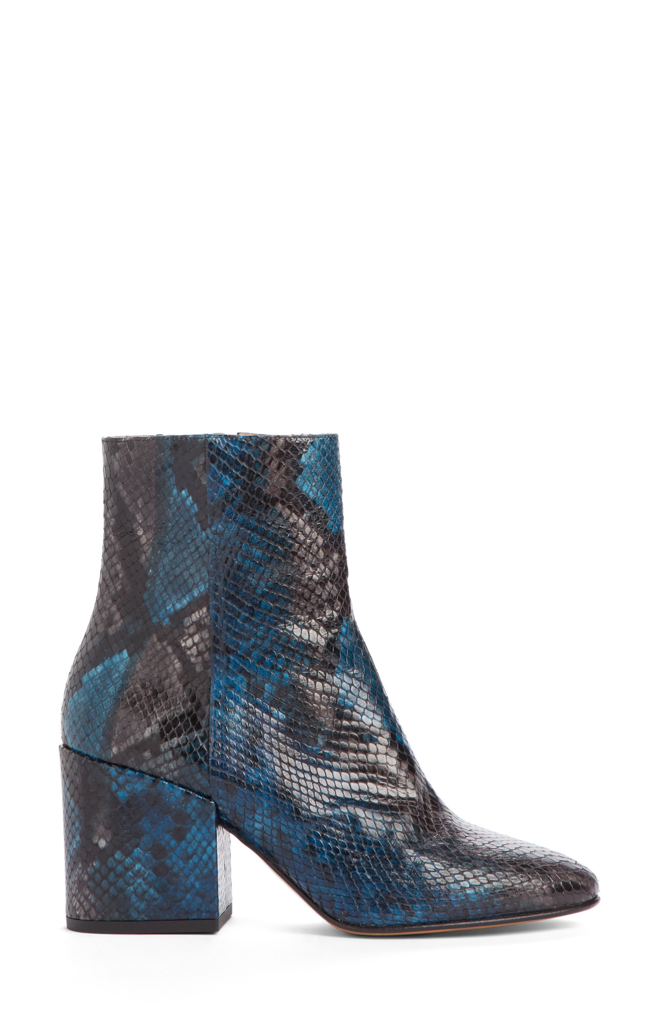 Snake Embossed Bootie,                             Alternate thumbnail 4, color,                             Blue