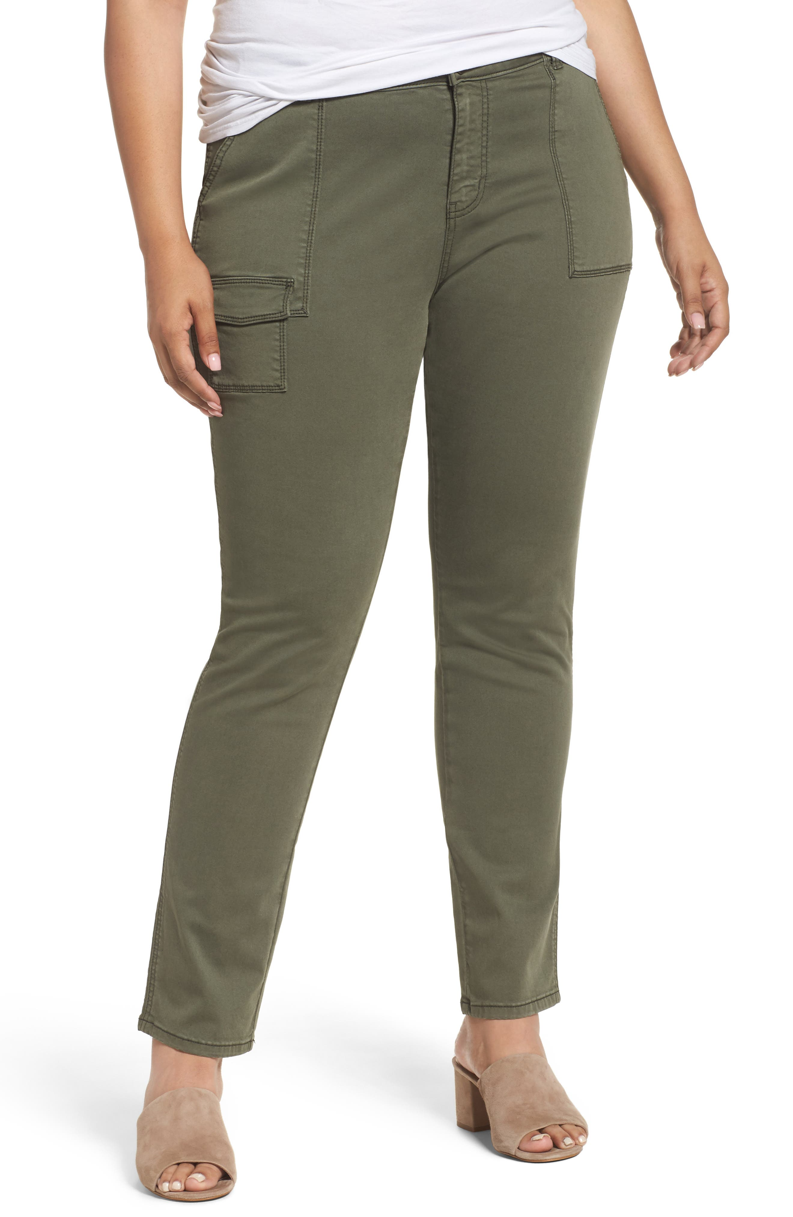 Caslon® Slim Utility Pants (Plus Size)