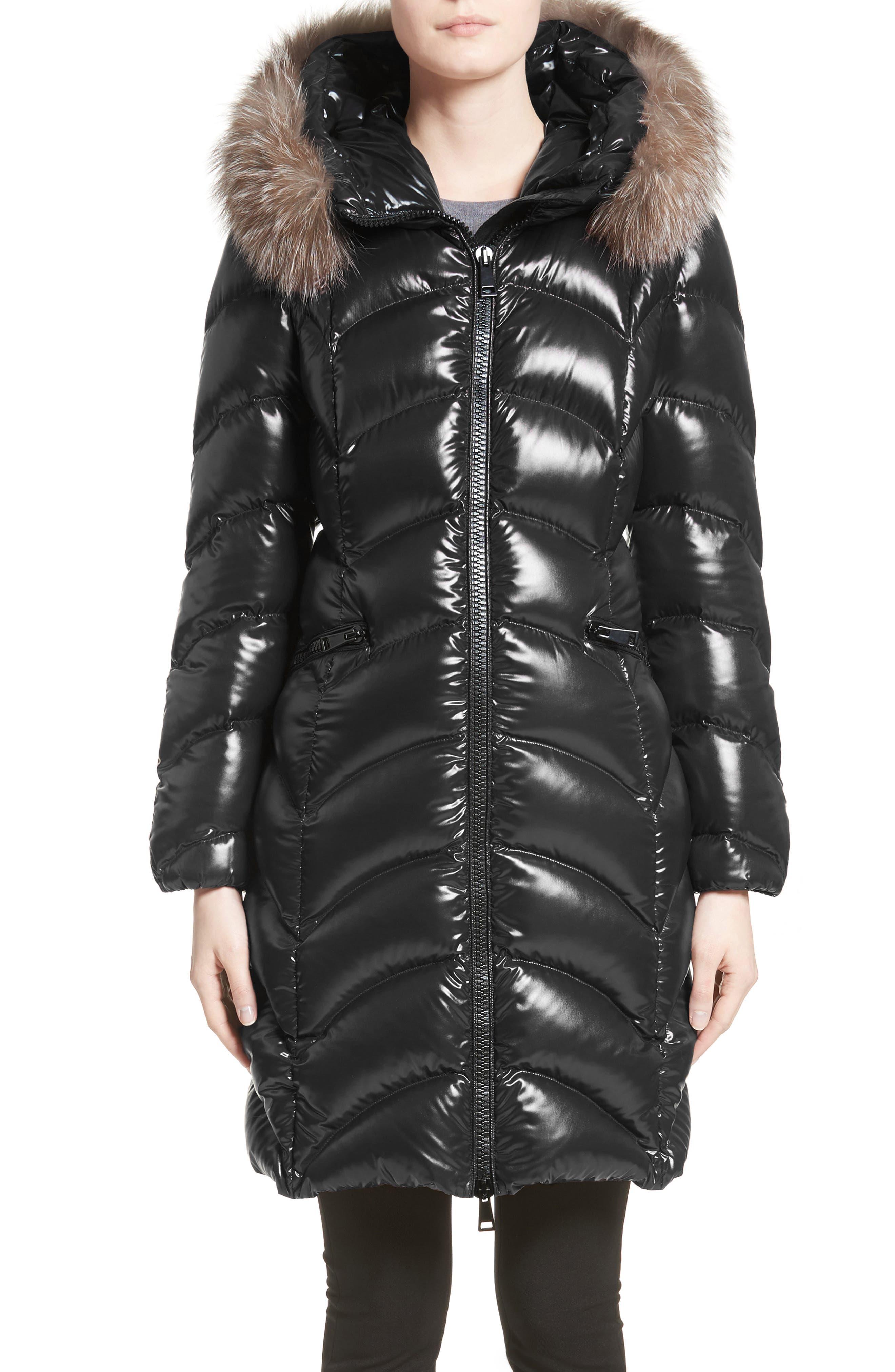Alternate Image 1 Selected - Moncler Albizia Down Puffer Coat with Genuine Fox Fur Trim
