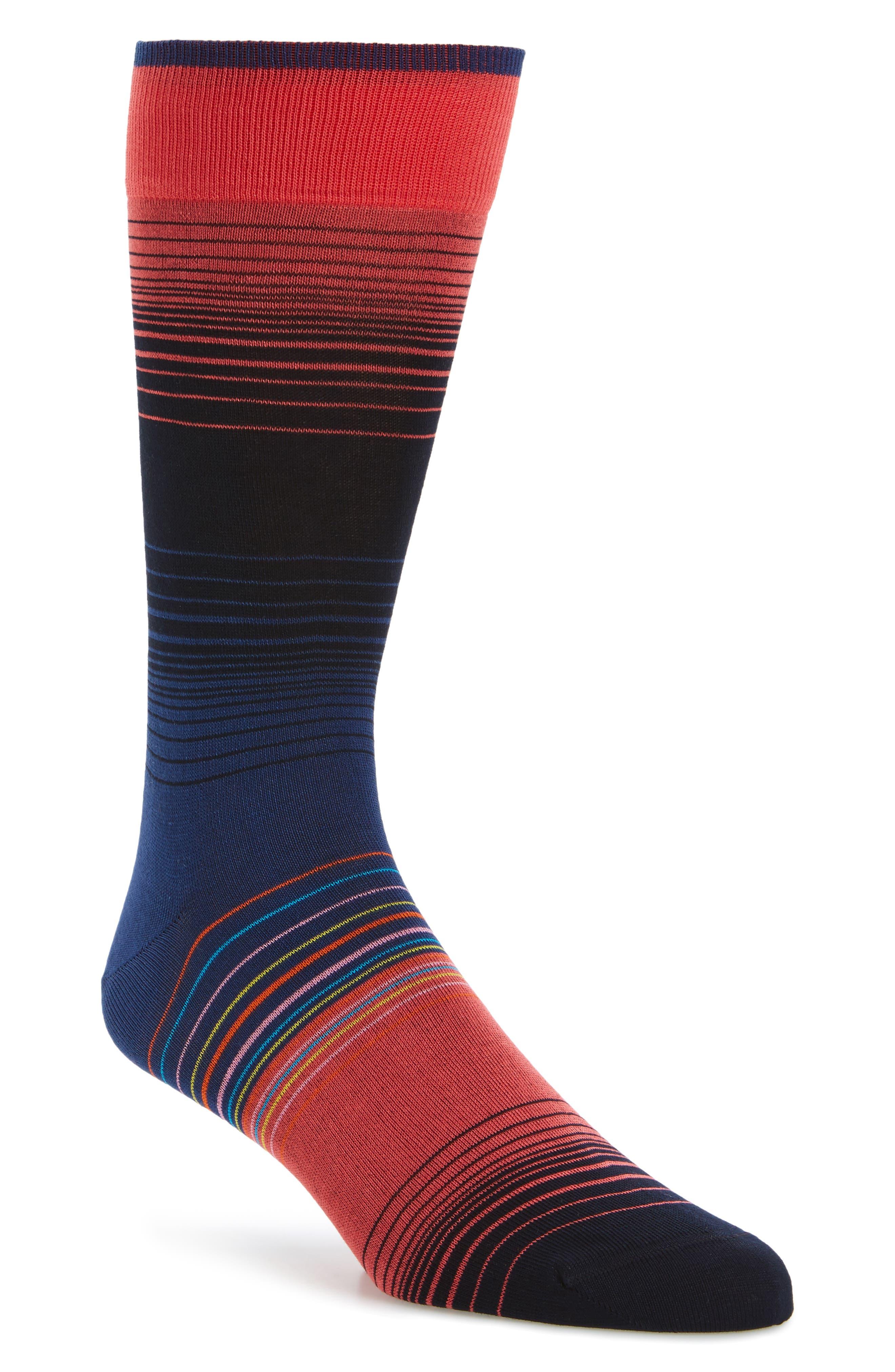 Stripe Socks,                             Main thumbnail 1, color,                             Coral/ Black