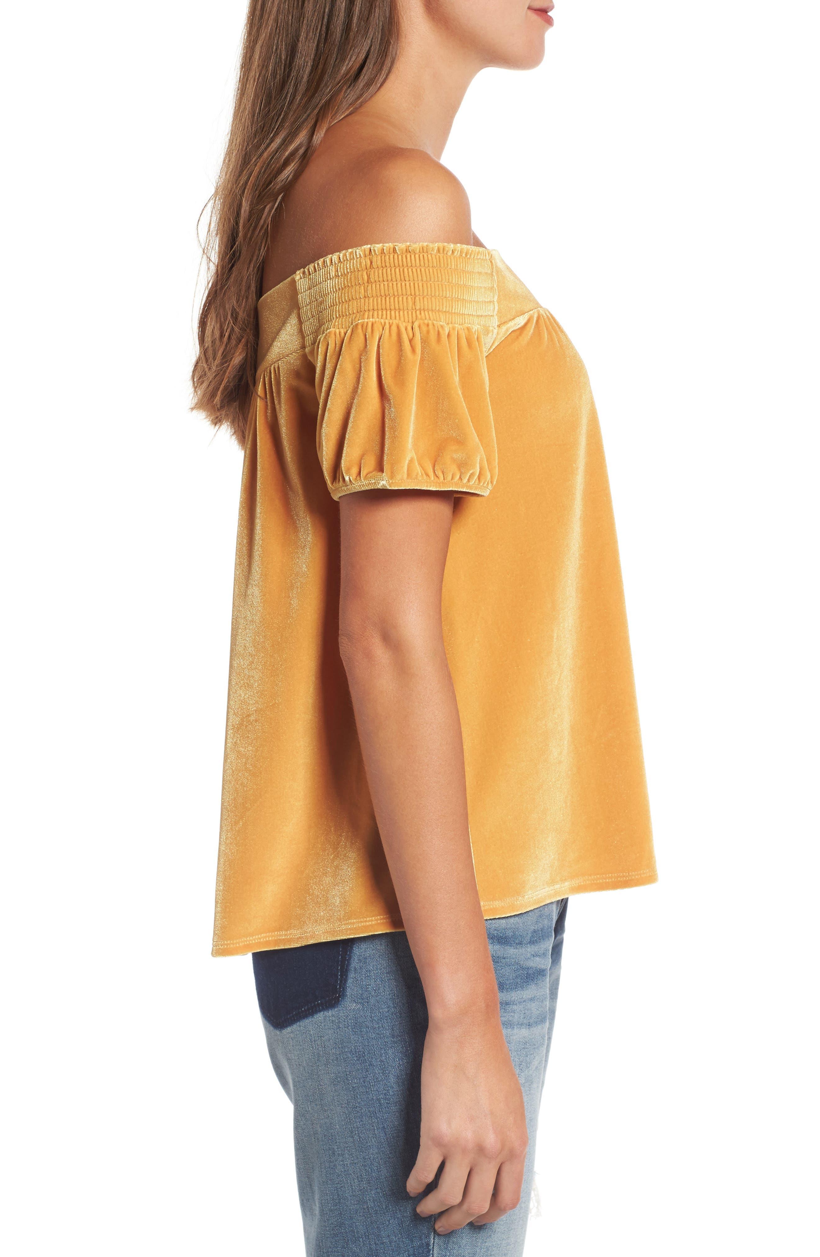 Alternate Image 3  - Hinge Off the Shoulder Velvet Top