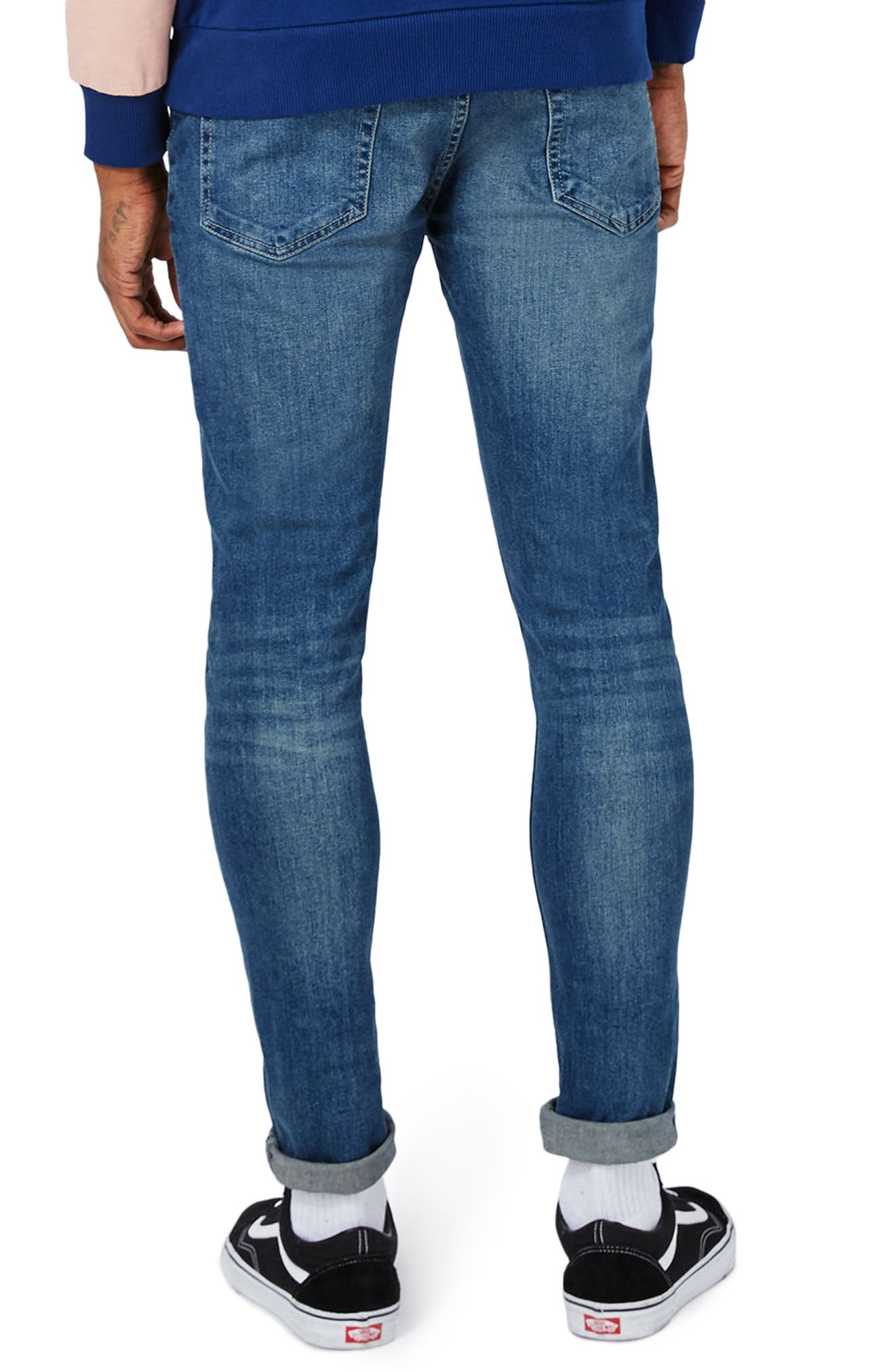 Stretch Skinny Jeans,                             Alternate thumbnail 2, color,                             Mid Blue