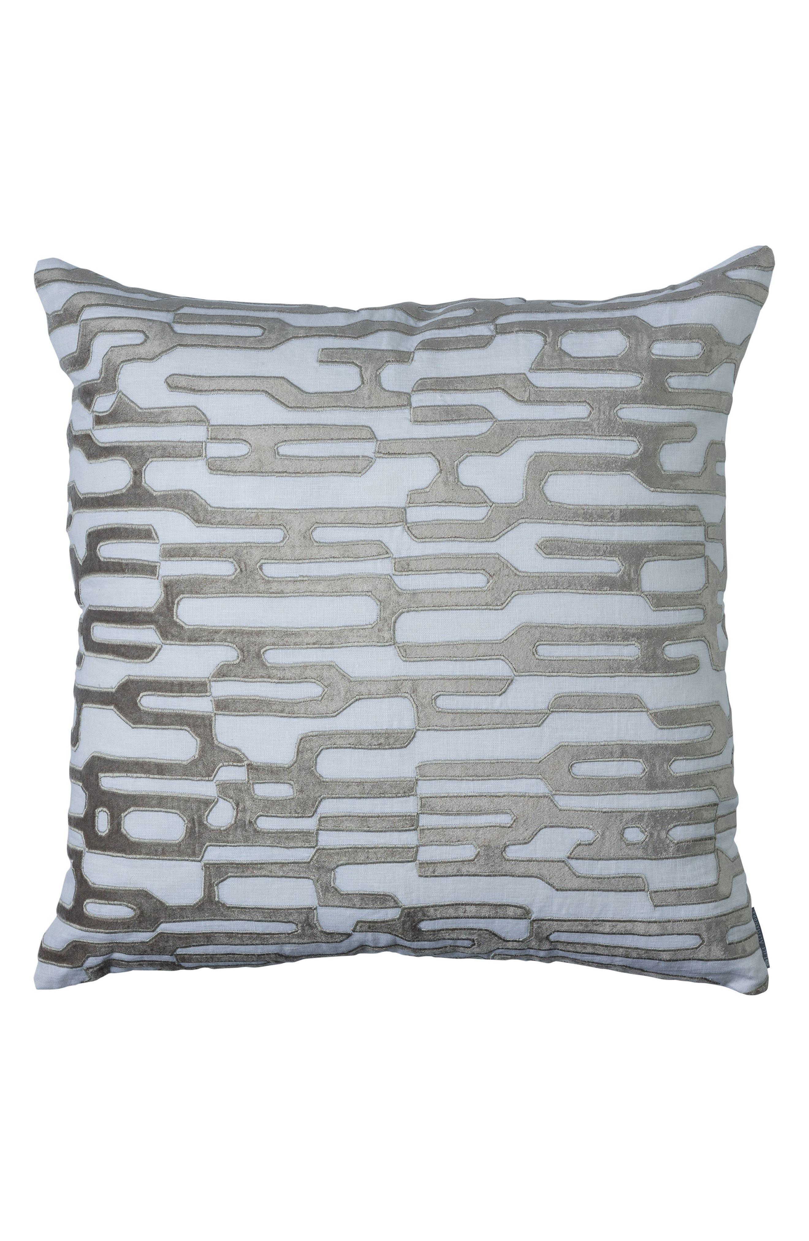 Christian Square Accent Pillow,                         Main,                         color, Platnium