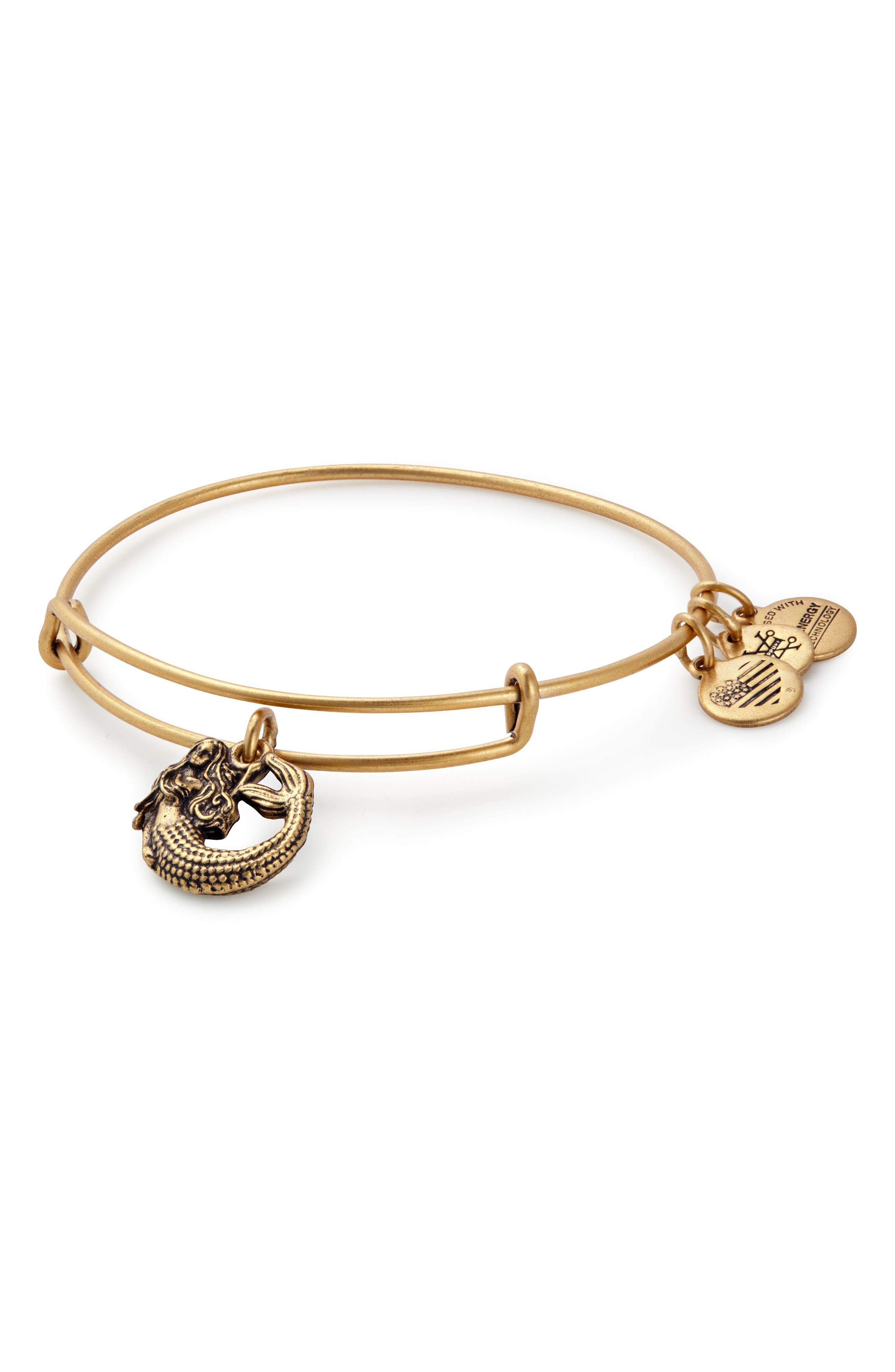 Mermaid Adjustable Wire Bangle,                         Main,                         color, Gold