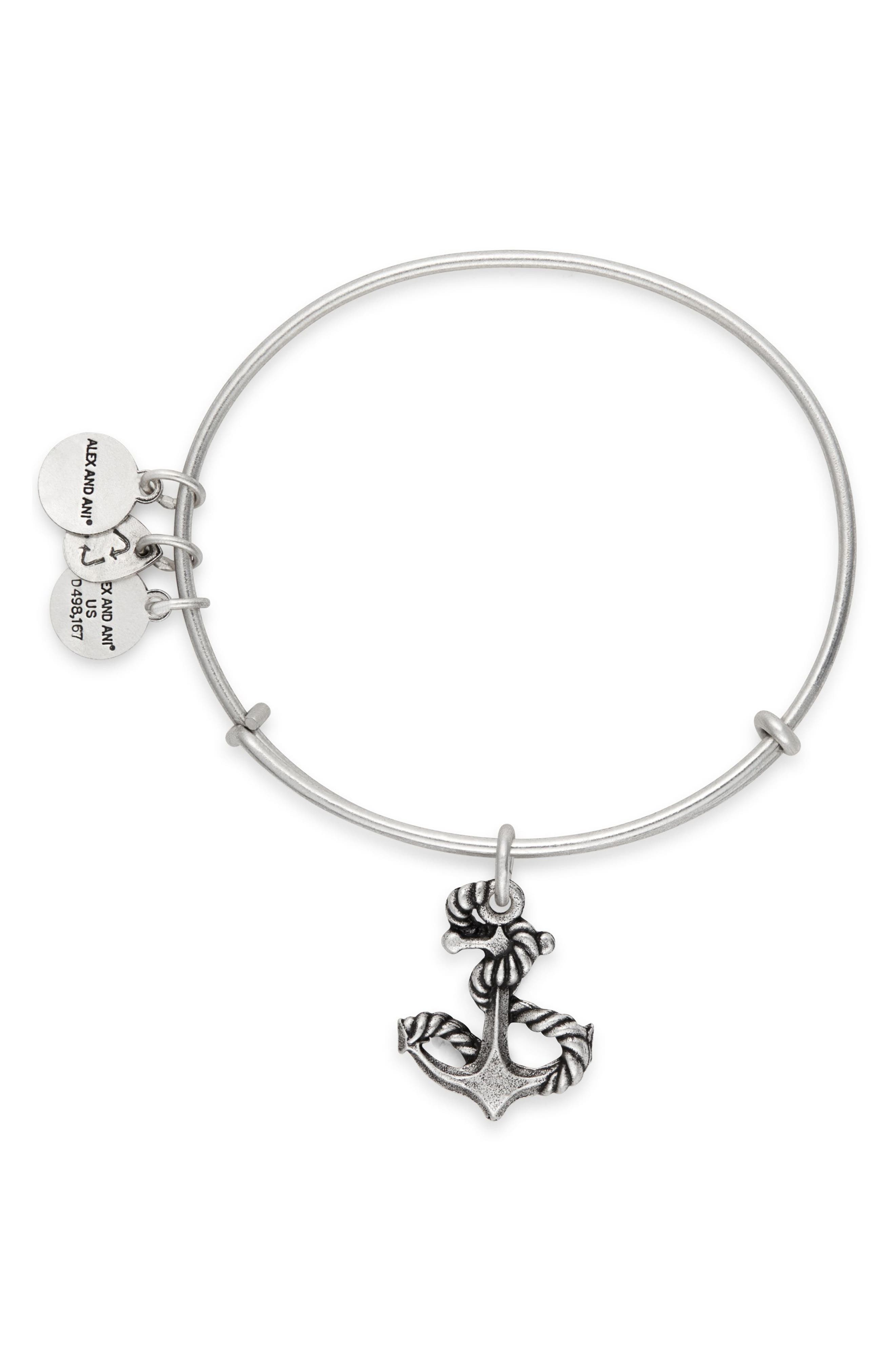 Anchor Adjustable Wire Bangle,                             Alternate thumbnail 2, color,                             Silver