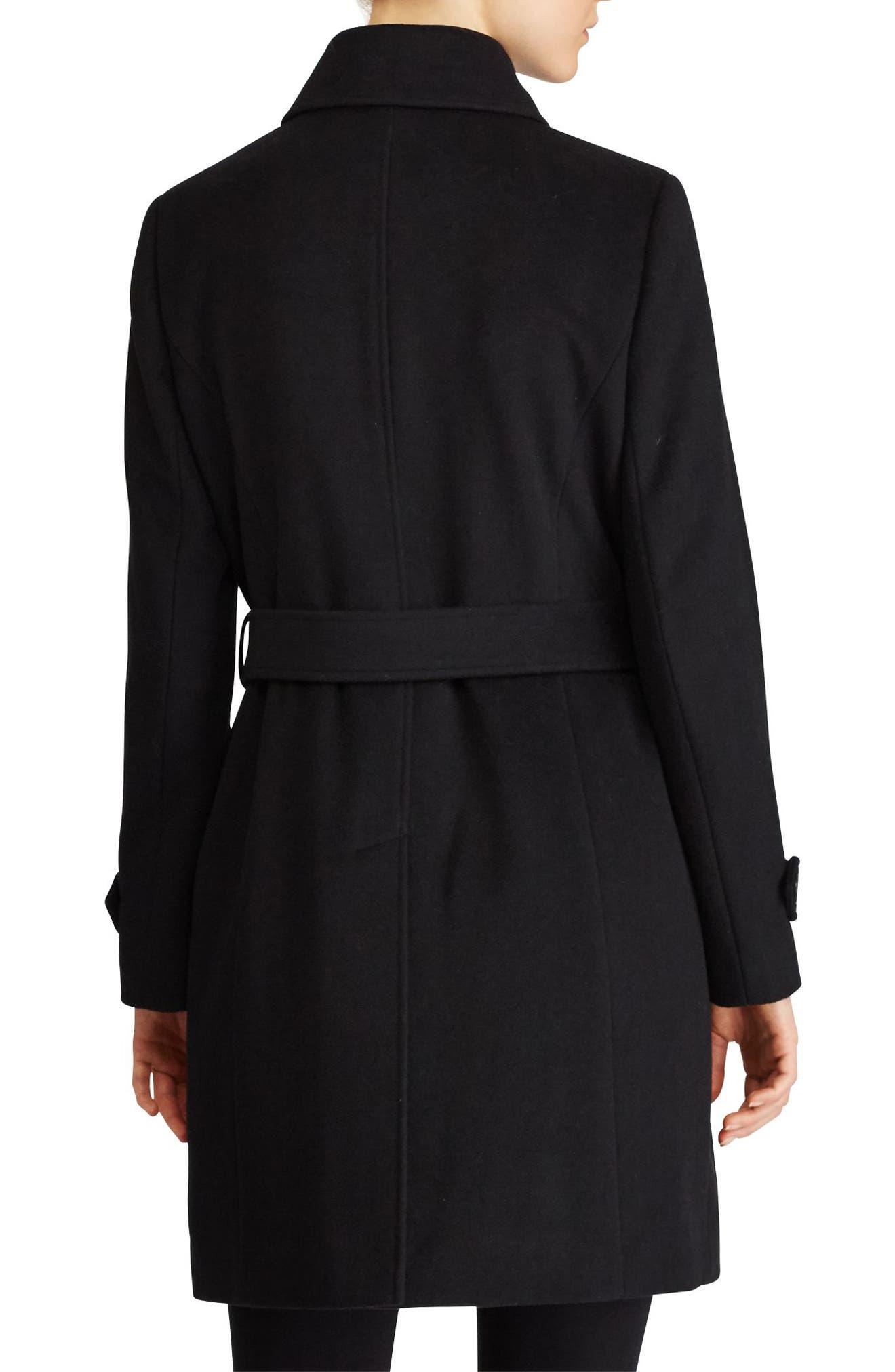 Wool Blend Trench Coat,                             Alternate thumbnail 3, color,                             Black