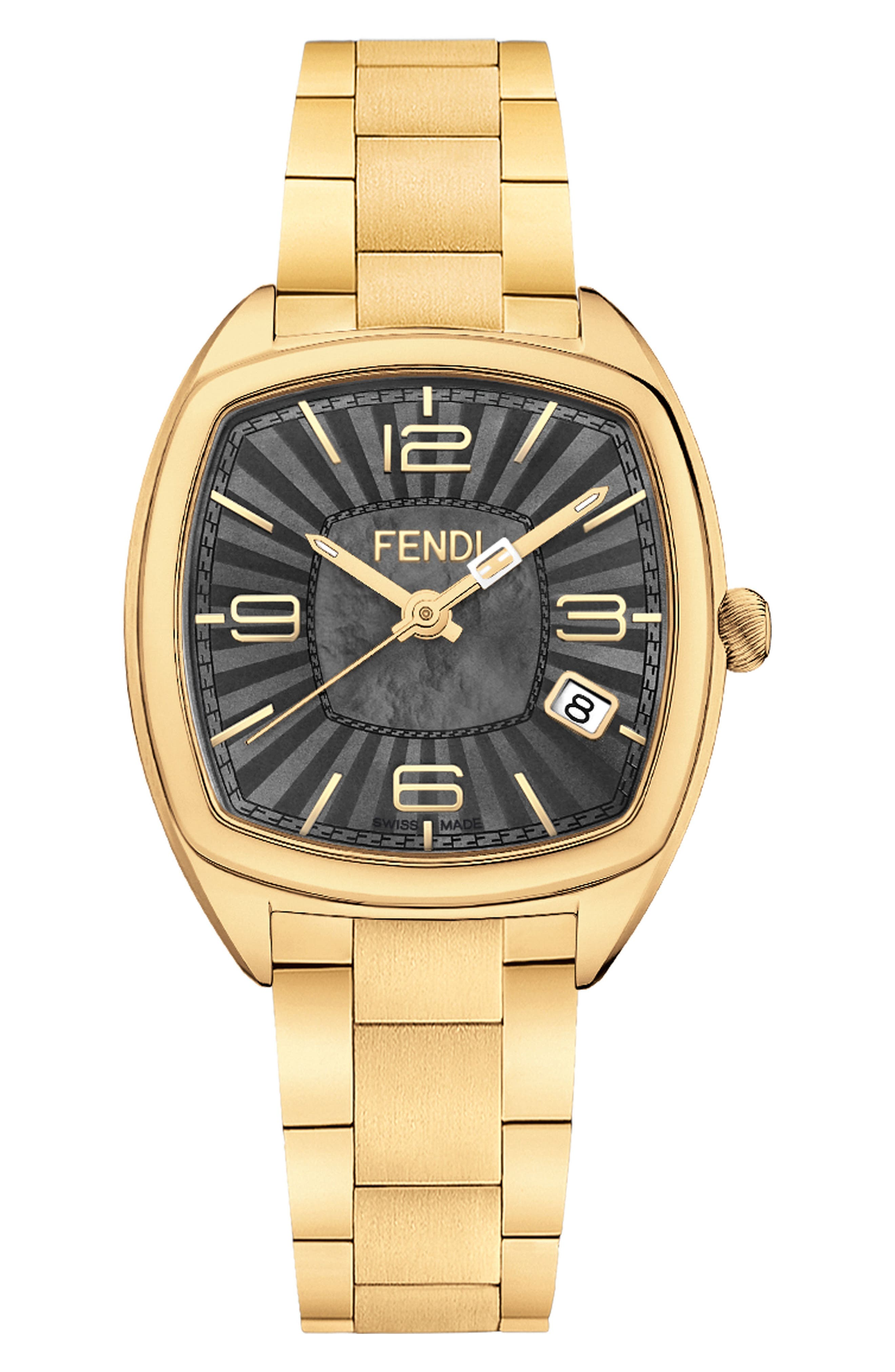 Momento Square Bracelet Watch, 32mm,                             Main thumbnail 1, color,                             Gold/ Black Mop/ Gold
