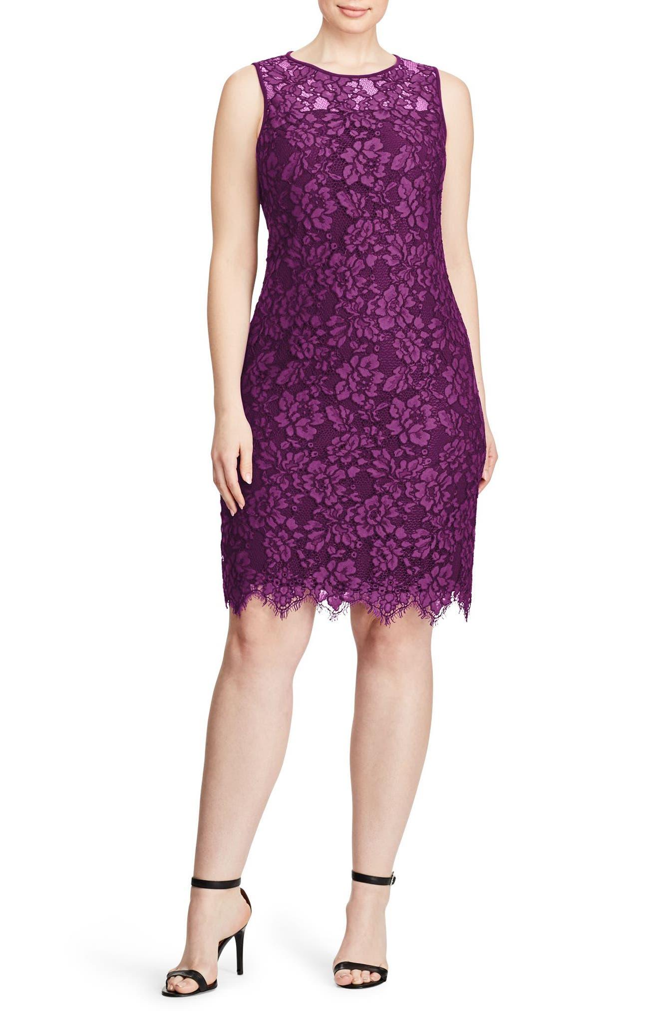 Corded Lace Sheath Dress,                             Main thumbnail 1, color,                             Plum-Wheat