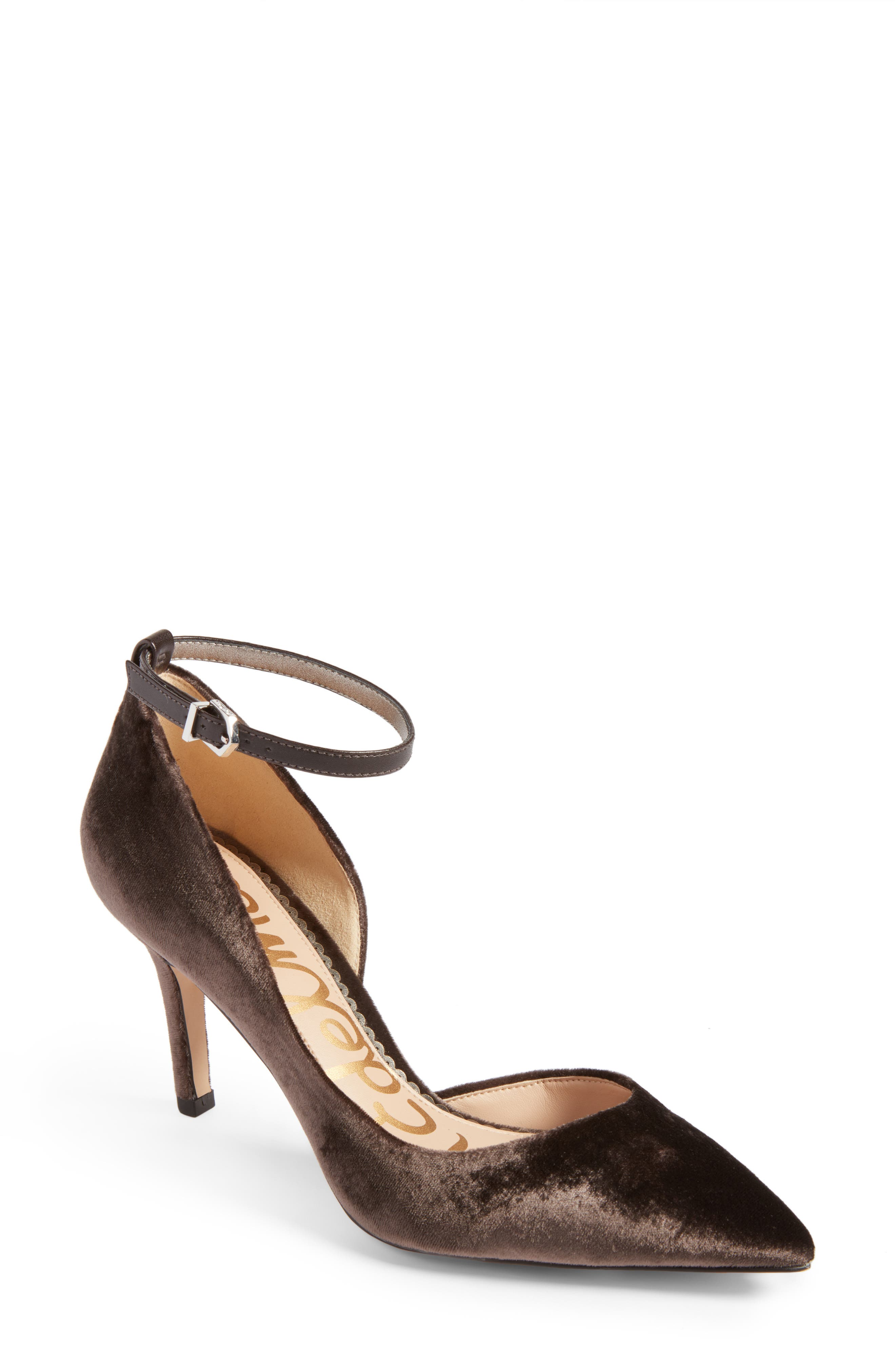 Tia Ankle Strap Pump,                         Main,                         color, Steel Grey Fabric