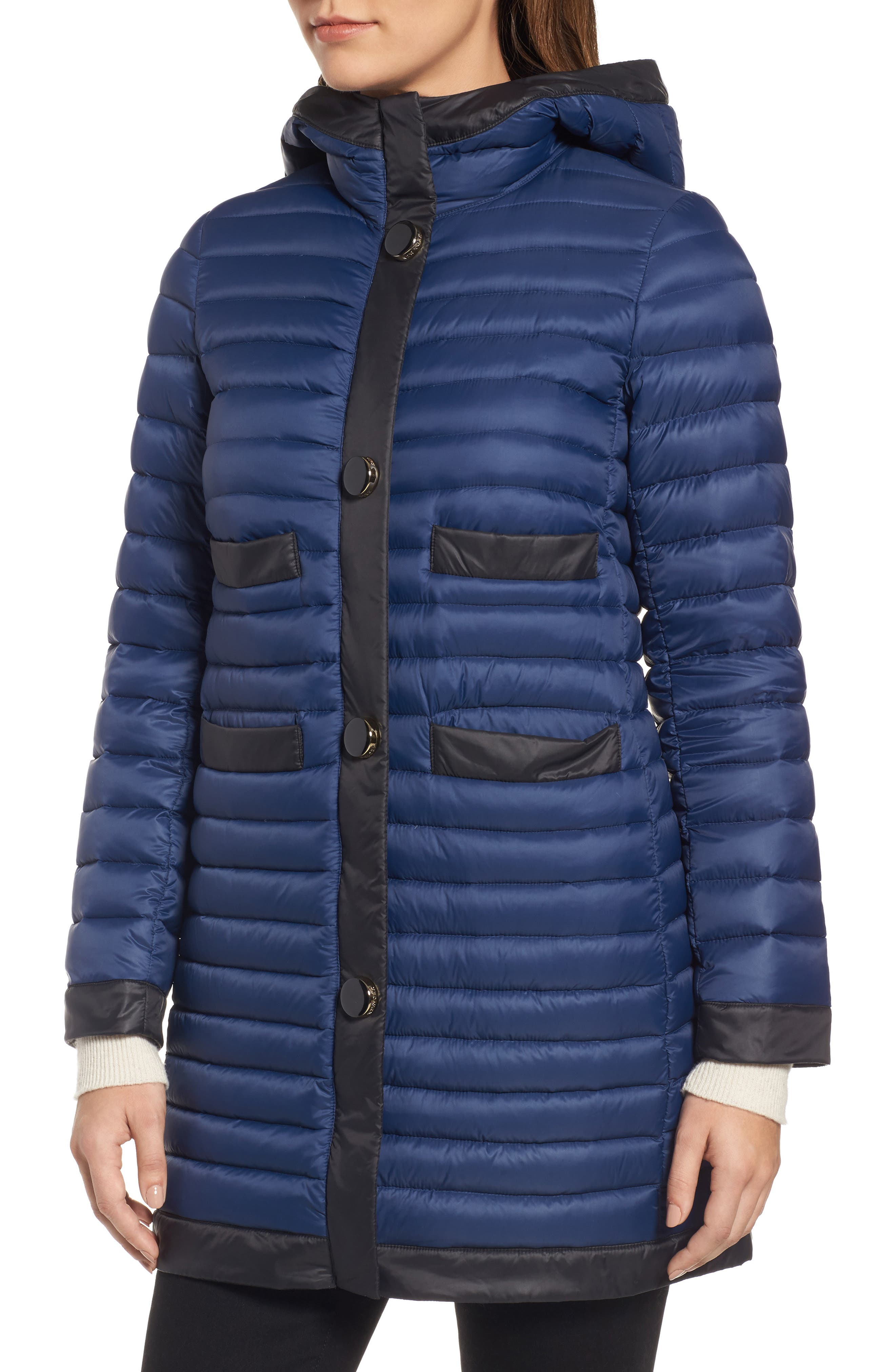 contrast trim hooded puffer coat,                             Alternate thumbnail 4, color,                             Rich Navy/ Black