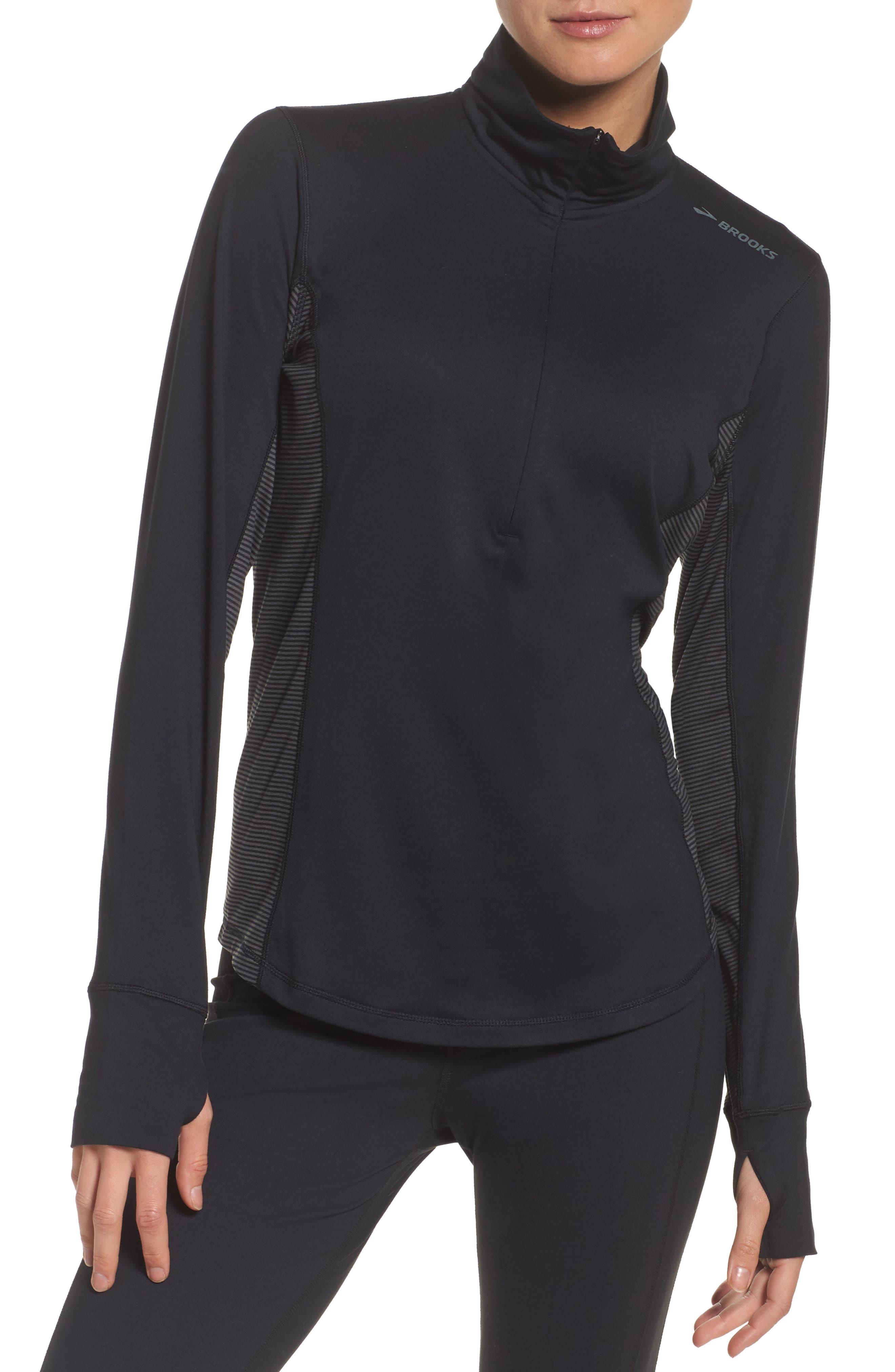 'Dash' Half Zip Jacket,                         Main,                         color, Black/ Asphalt Stripe