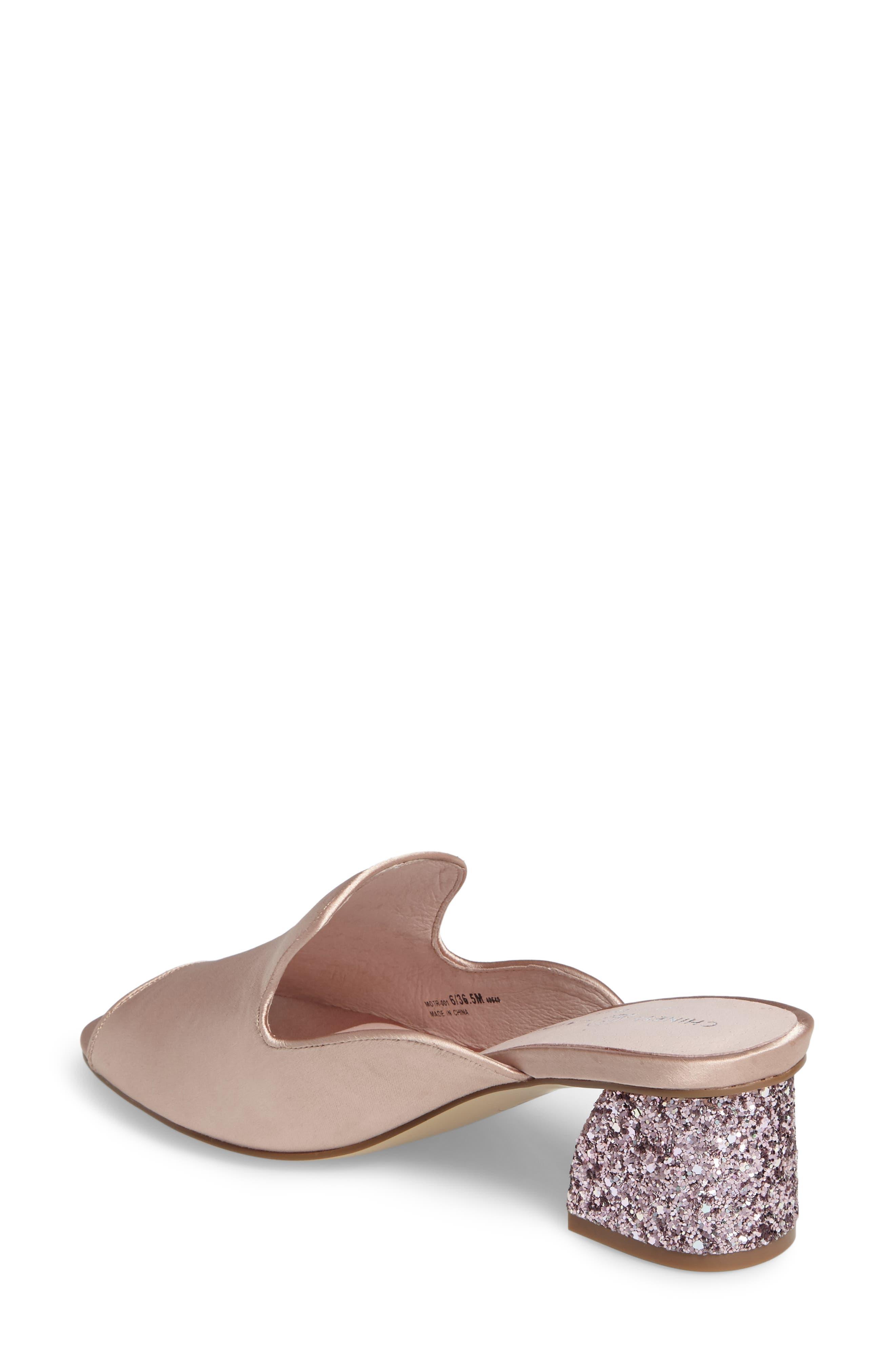 Mara Glitter Loafer Mule,                             Alternate thumbnail 2, color,                             Summer Nude Satin