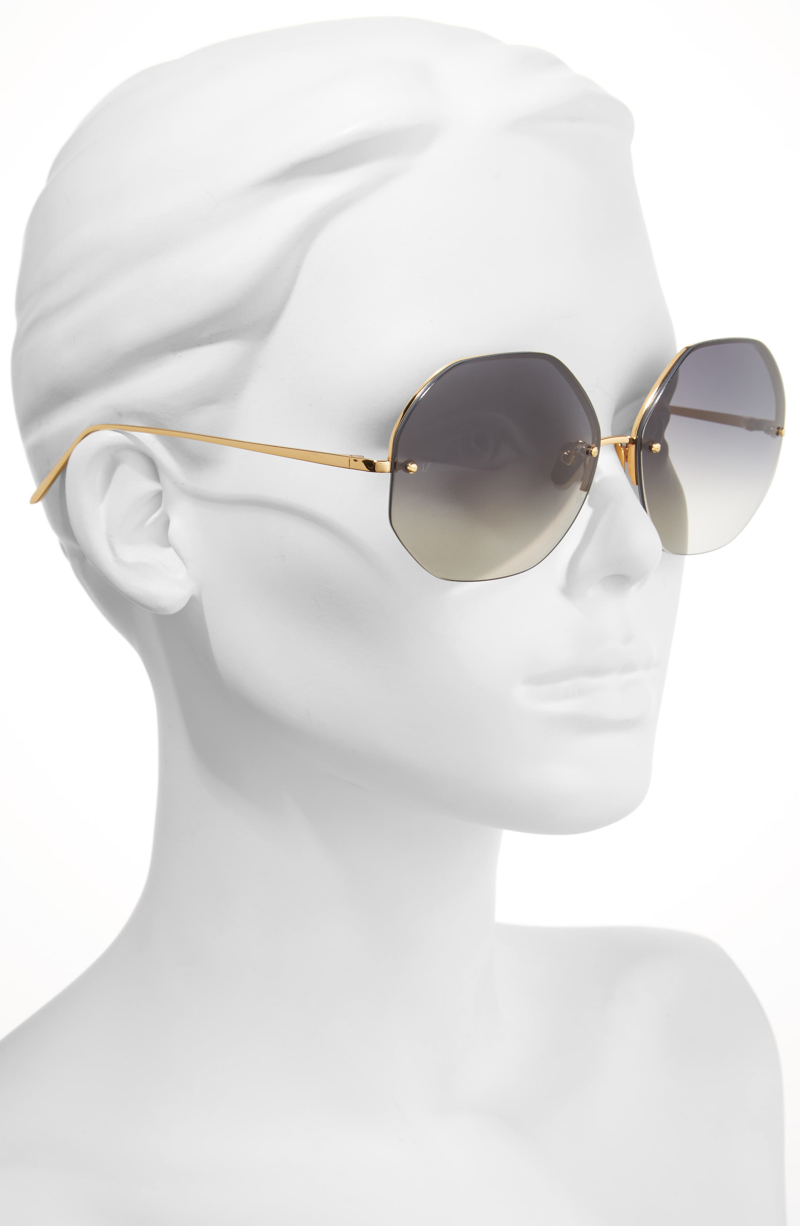 63mm Semi Rimless Round Titanium Sunglasses,                             Alternate thumbnail 2, color,                             Yellow Gold/ Grey