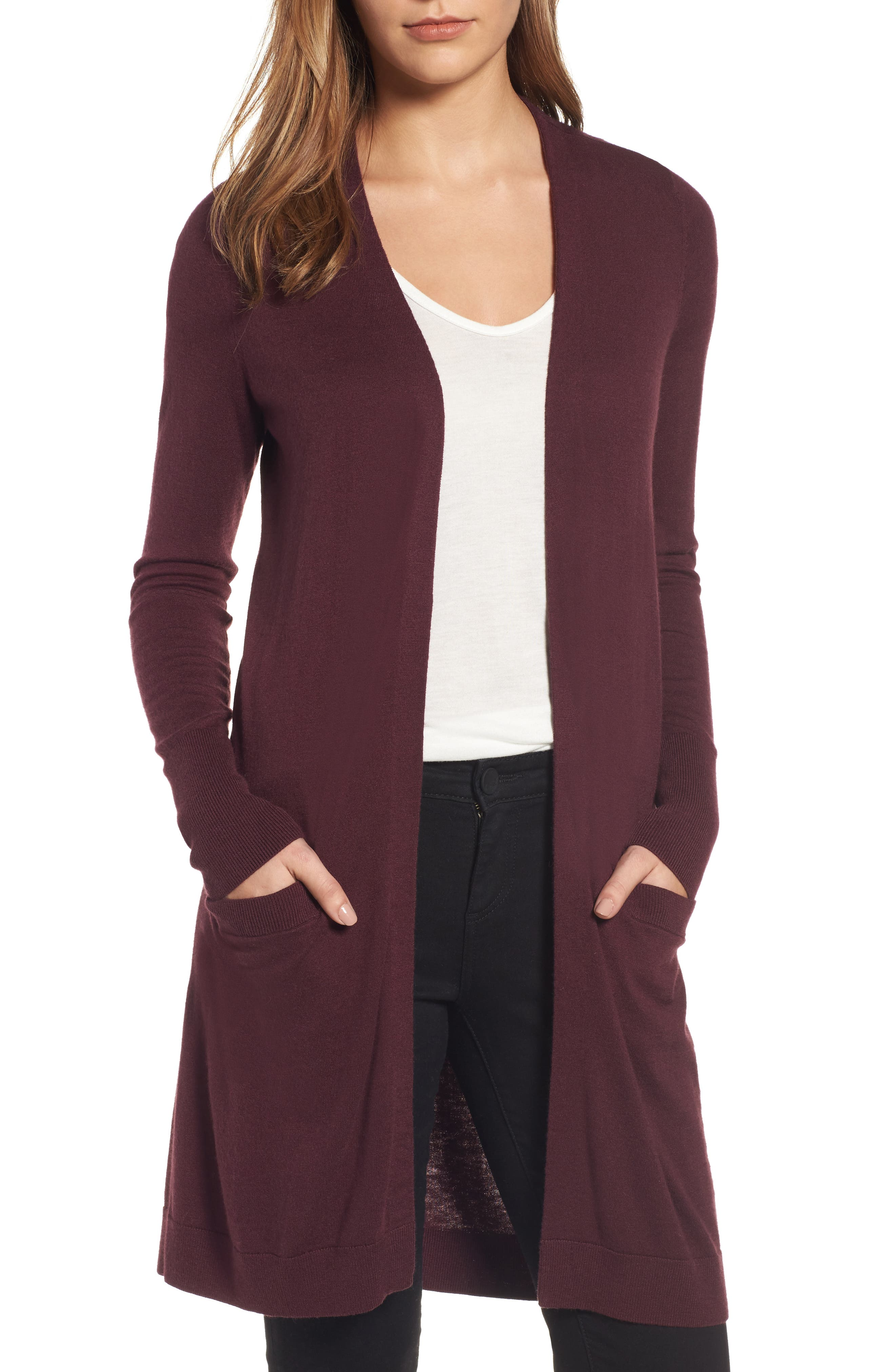 Long Open Front Cardigan,                             Main thumbnail 1, color,                             Burgundy Stem
