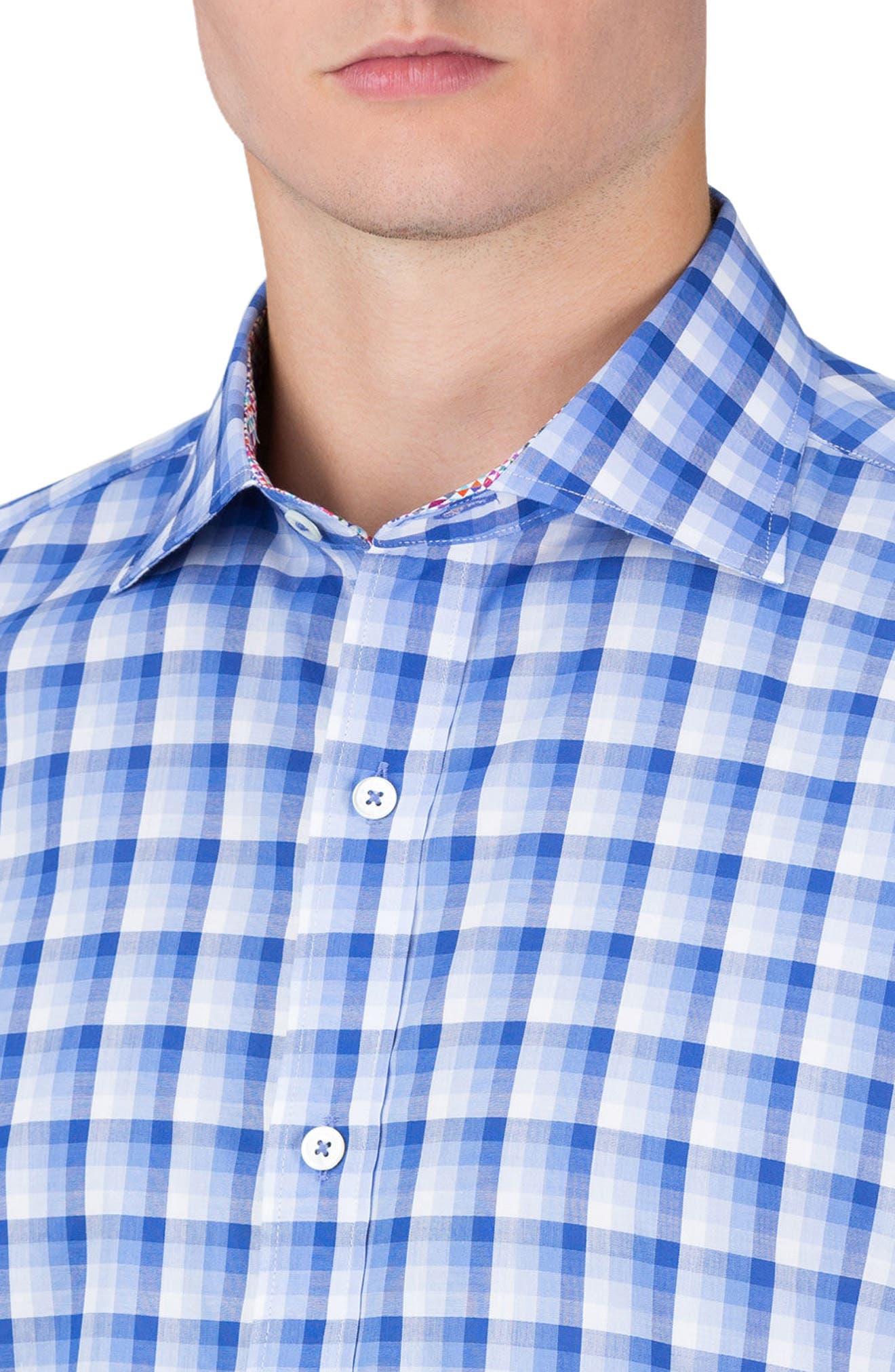 Shaped Fit Check Sport Shirt,                             Alternate thumbnail 3, color,                             Classic Blue