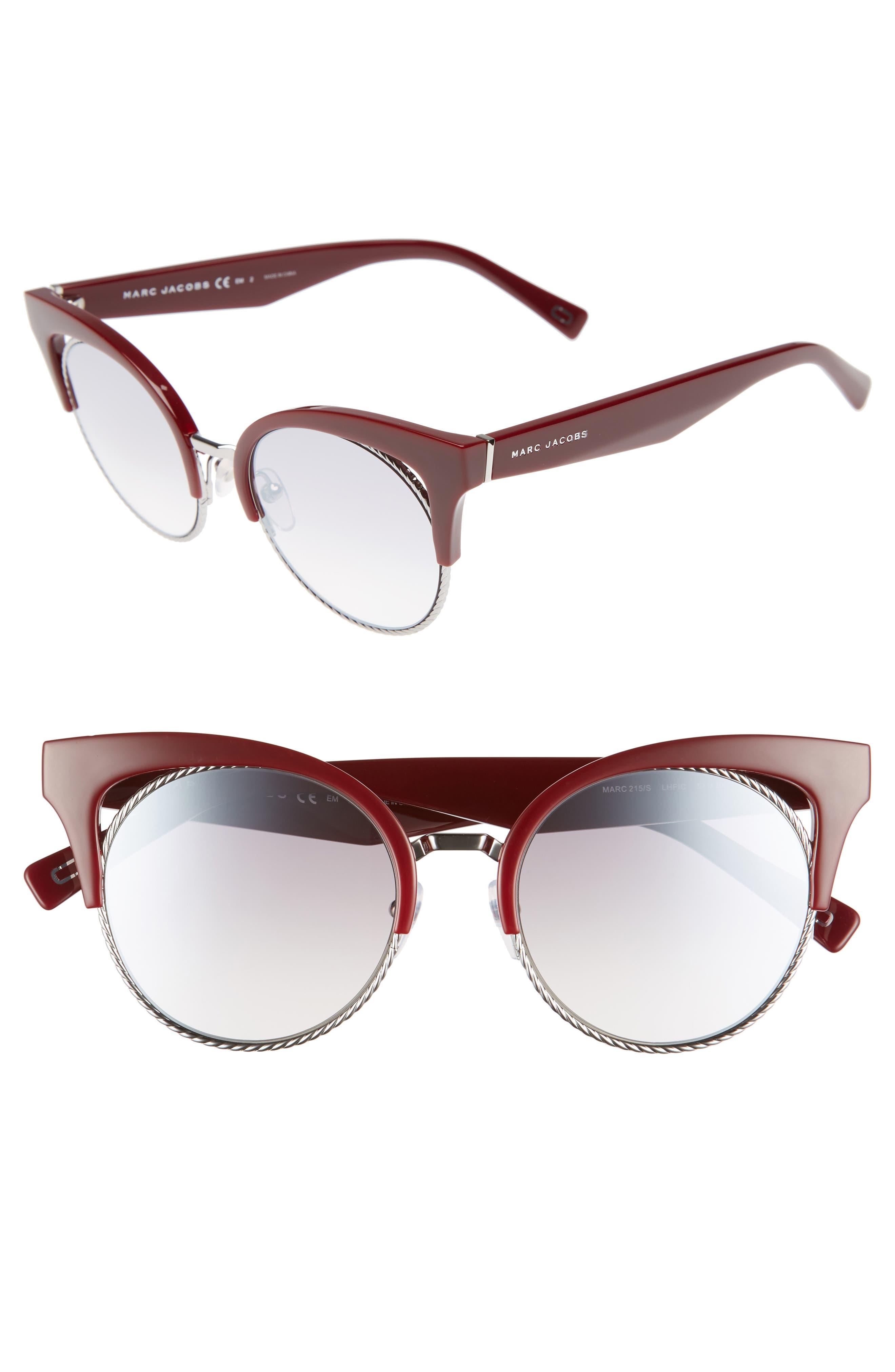51mm Gradient Lens Cat Eye Sunglasses,                         Main,                         color, Opal/ Burgundy