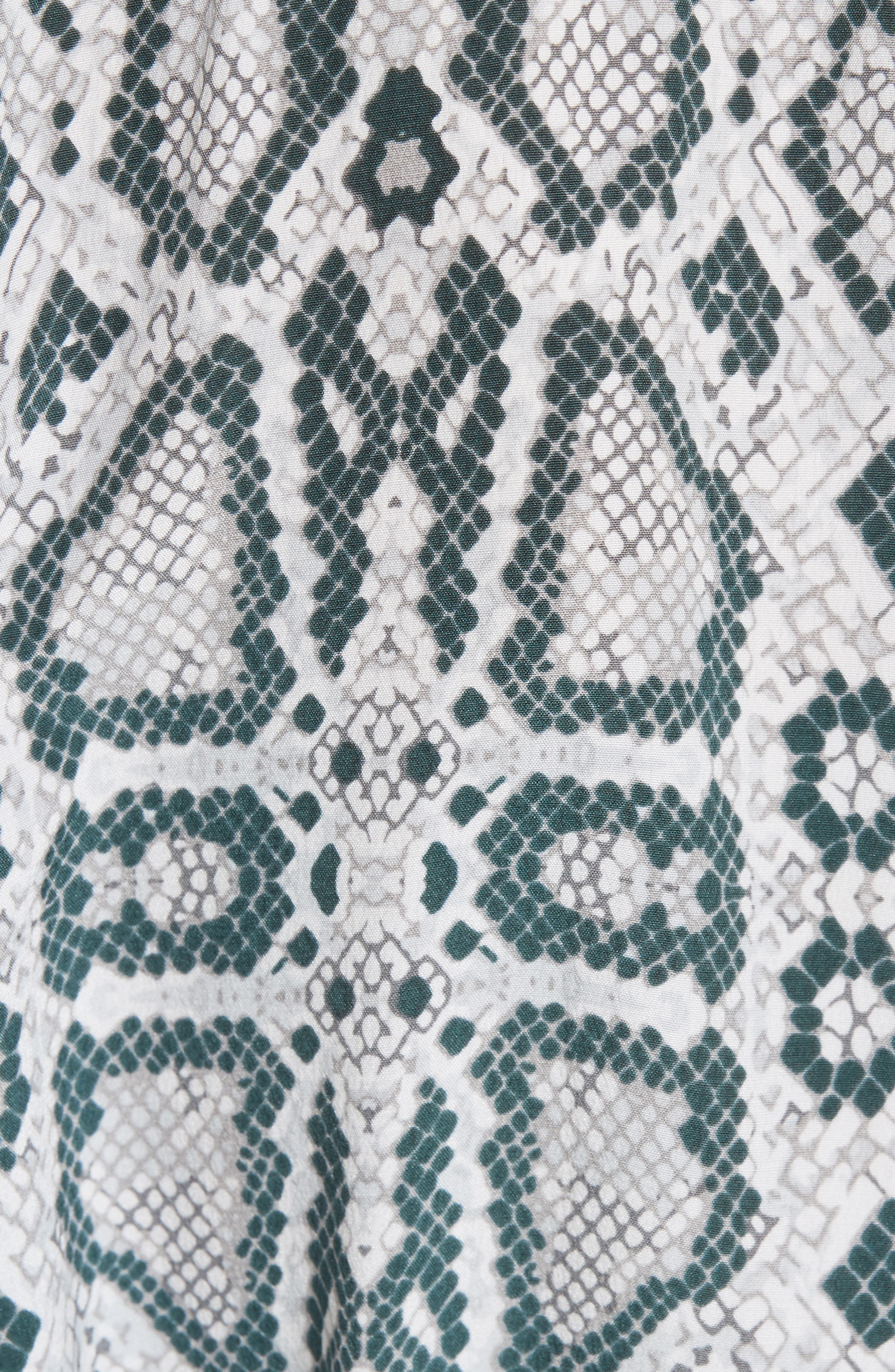 Emmanuelle Snake Print Silk Shirtdress,                             Alternate thumbnail 5, color,                             Mineral Grey Multi