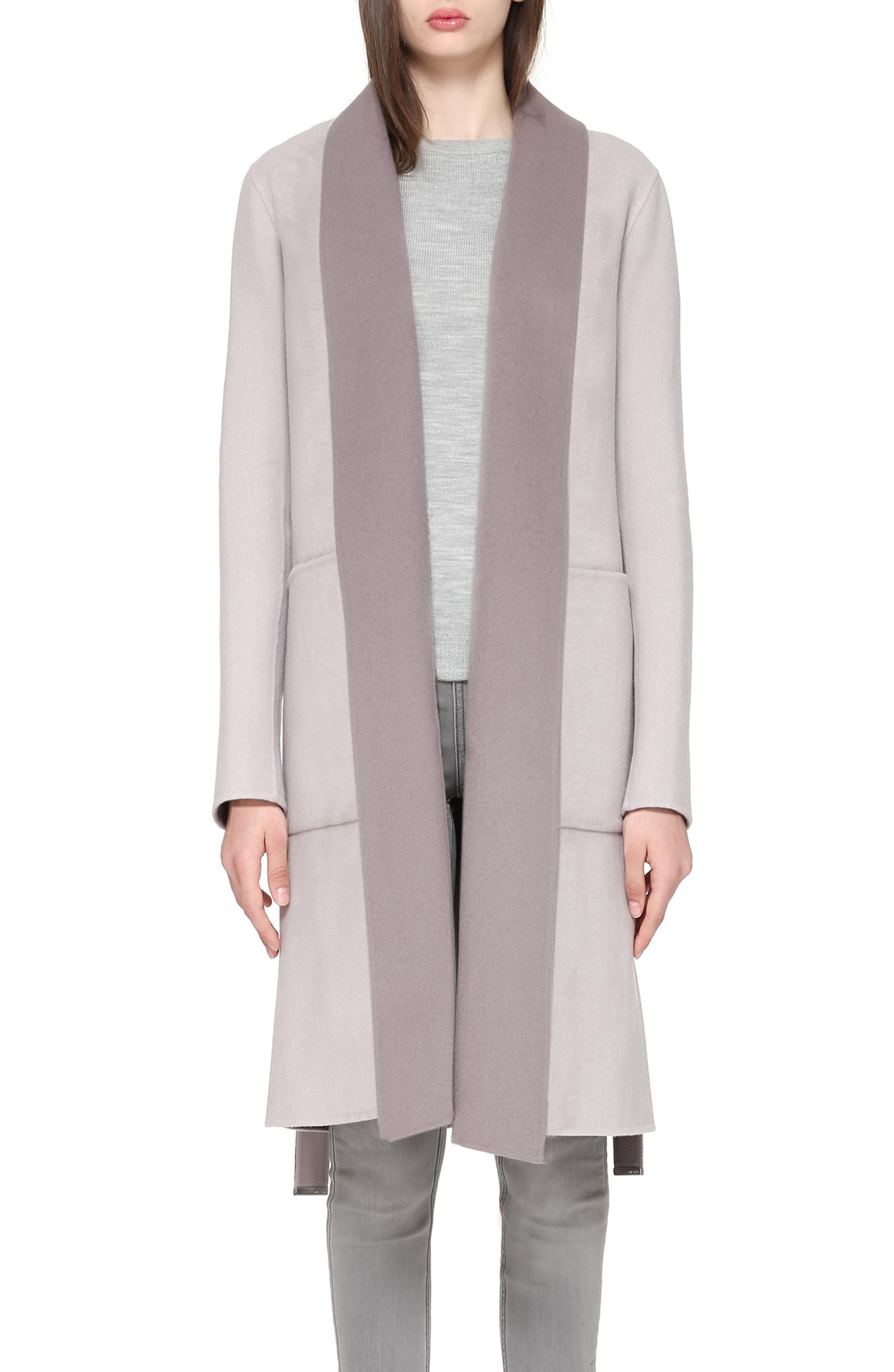 Soia & Kyo Double Face Wool Blend Long Wrap Coat