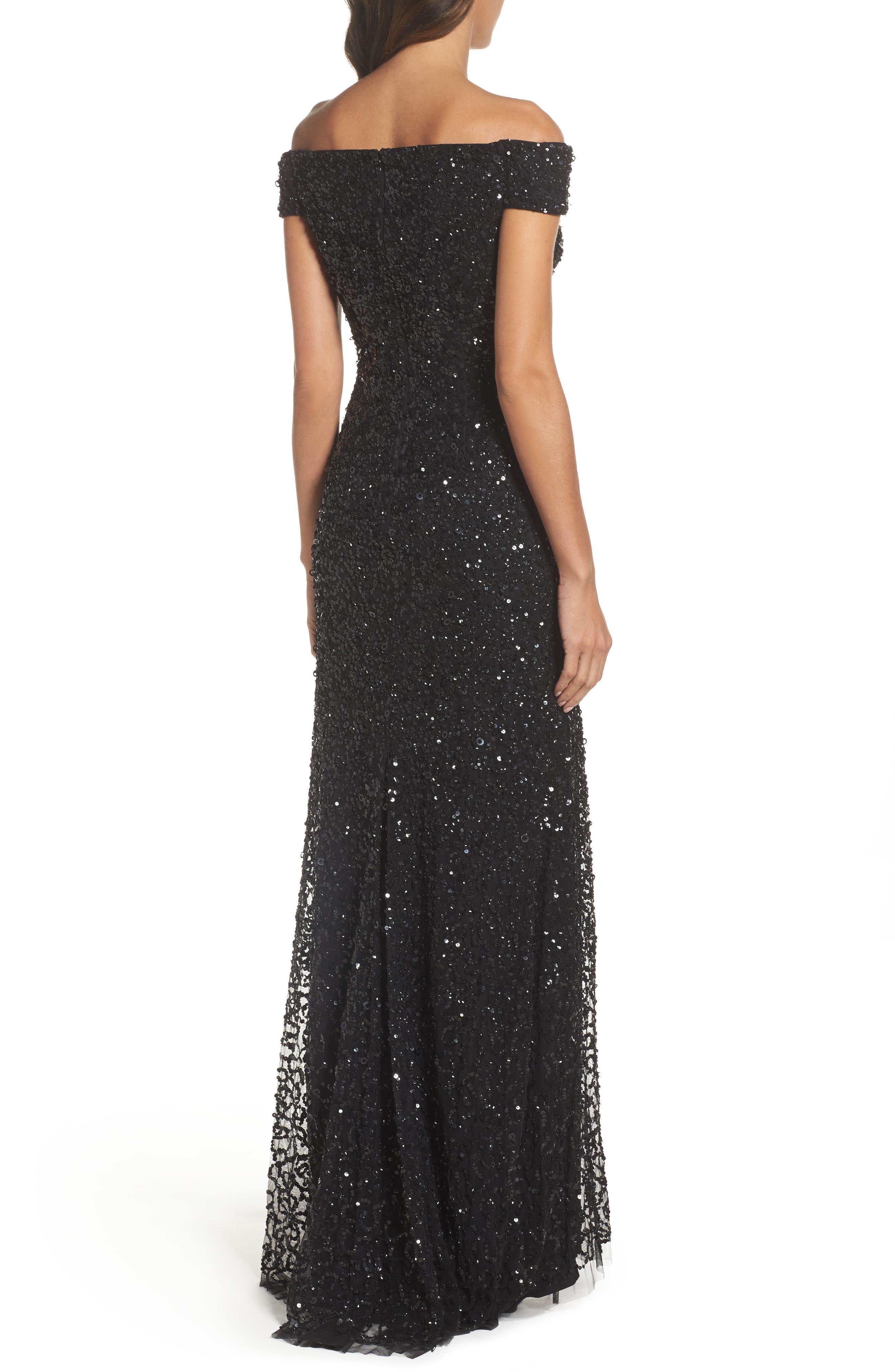 Sequin Mesh Gown,                             Alternate thumbnail 2, color,                             Black