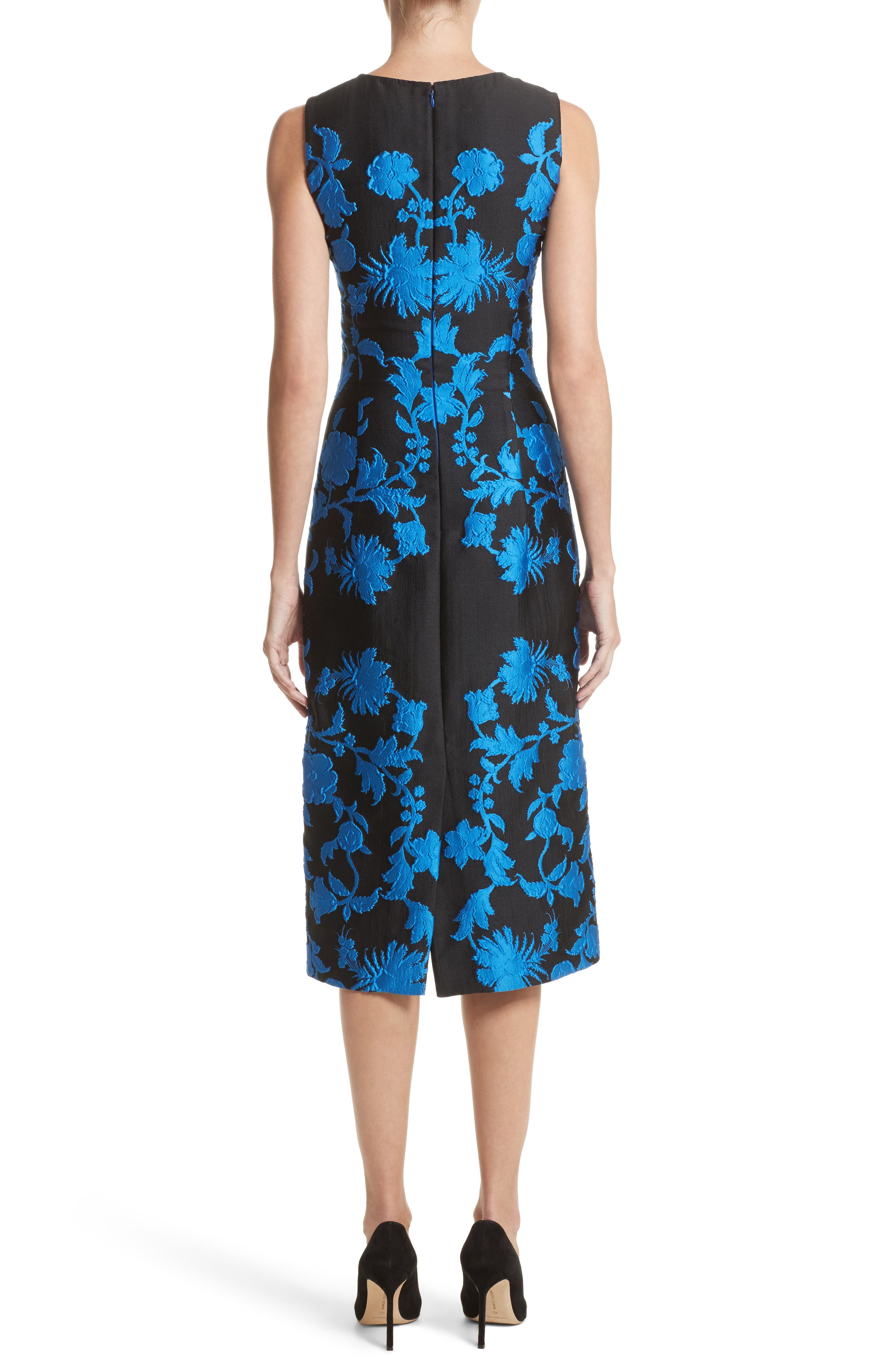 Alternate Image 2  - Oscar de la Renta Matelassé Floral Jacquard Dress