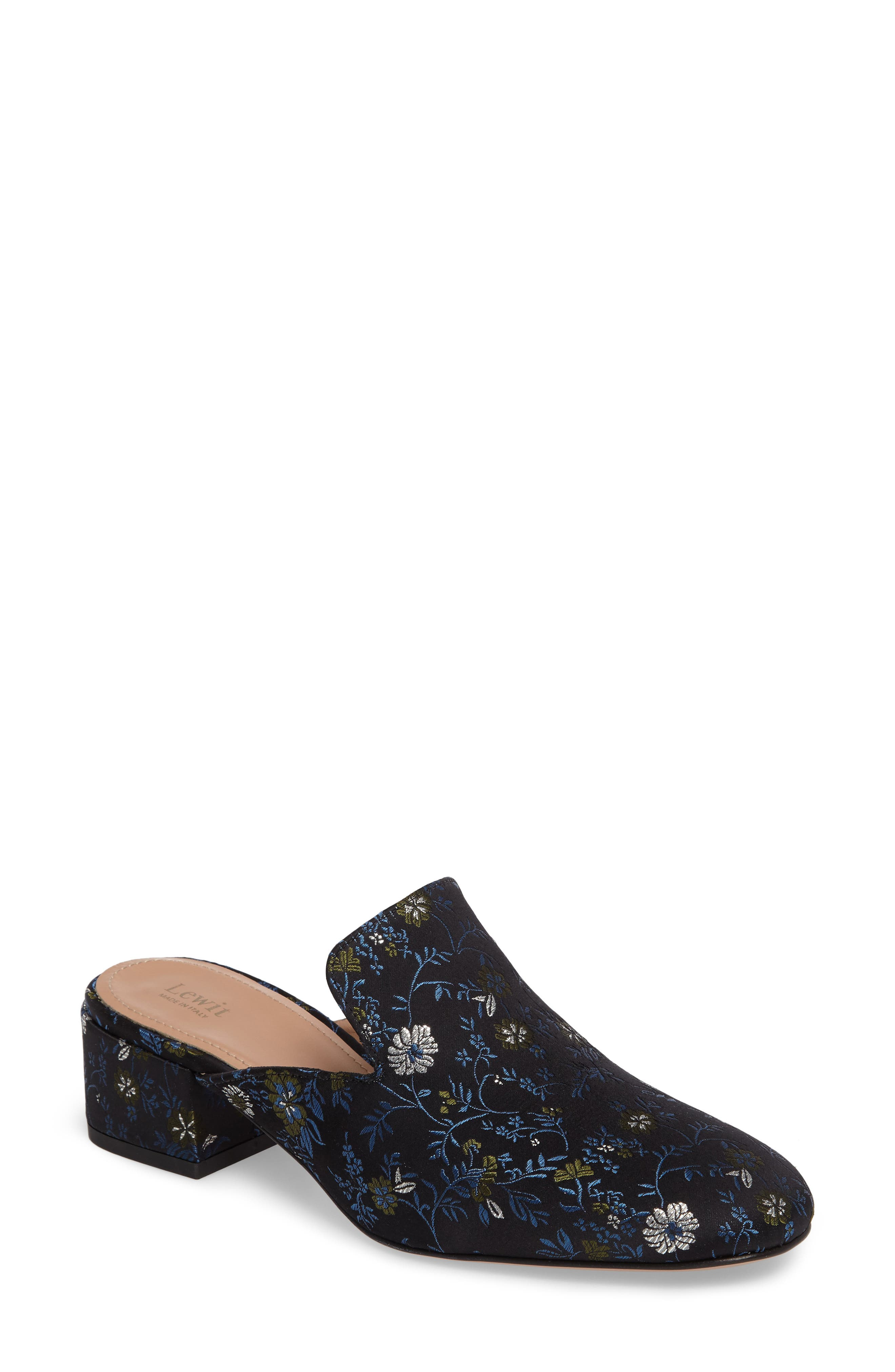 Bianca Embroidered Loafer Mule,                         Main,                         color, Black/ Blue Floral Fabric