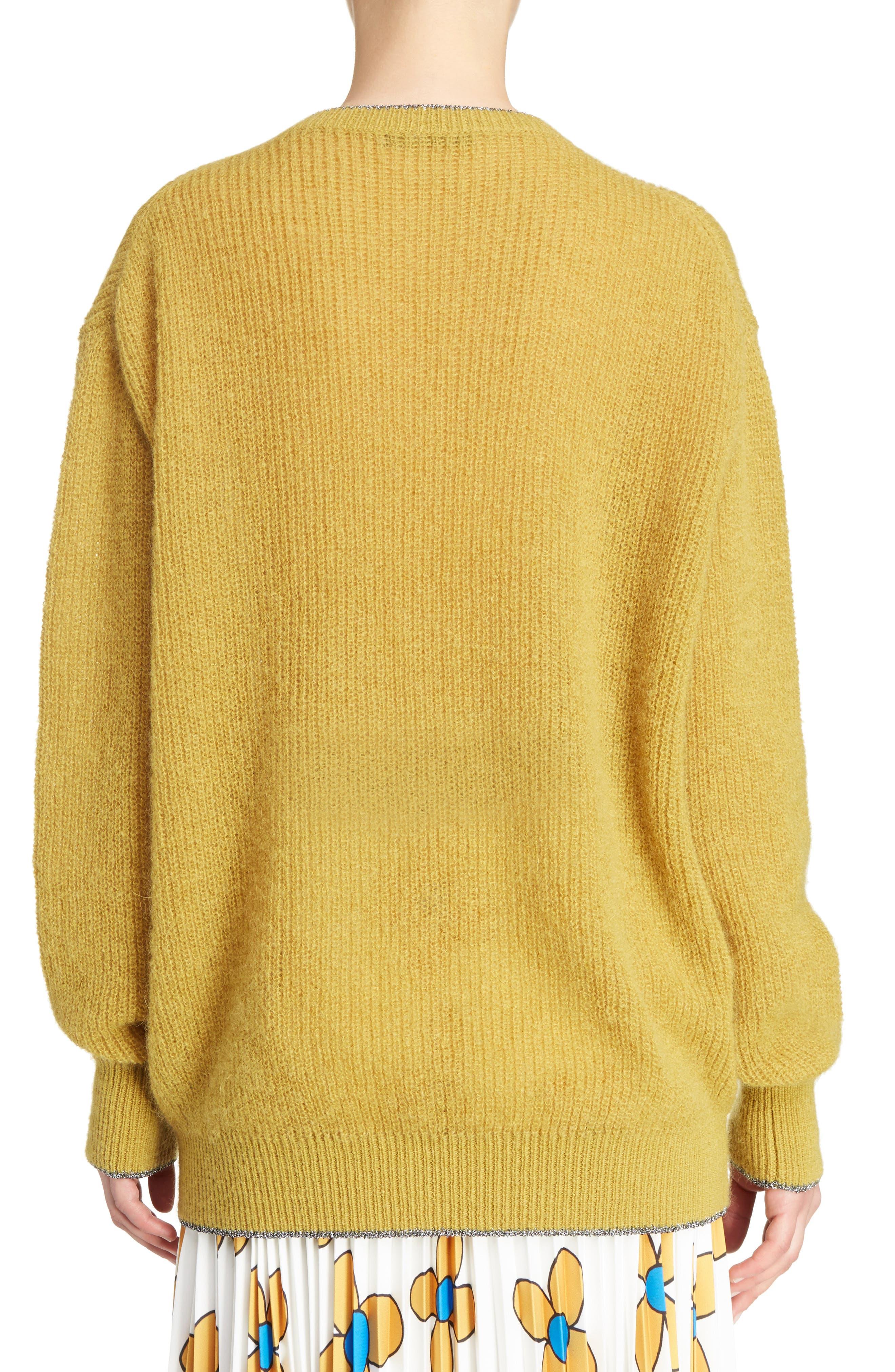 Crewneck Sweater,                             Alternate thumbnail 2, color,                             Honey/Silver