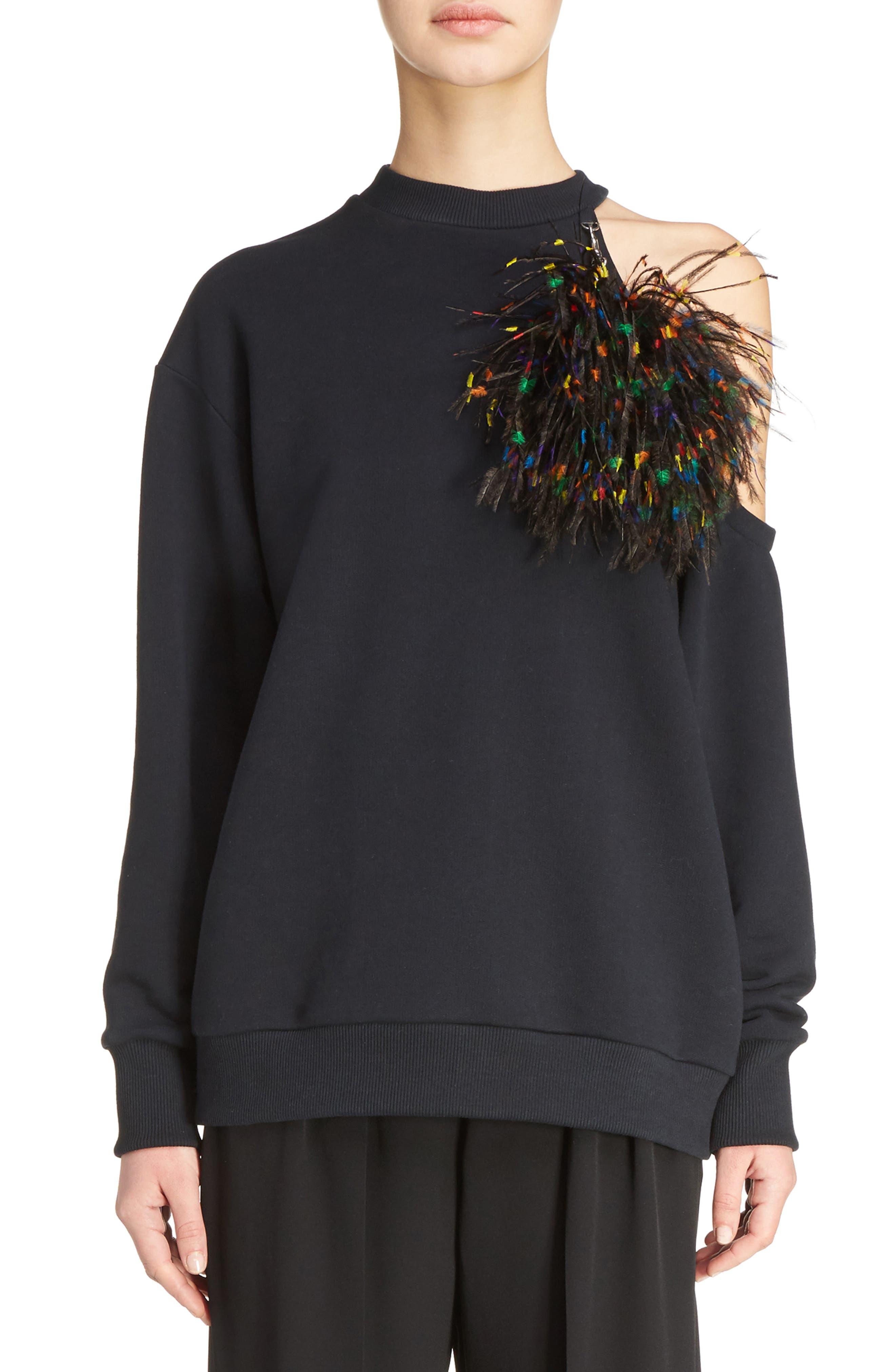 Christopher Kane Pom Pom Cold Shoulder Sweatshirt
