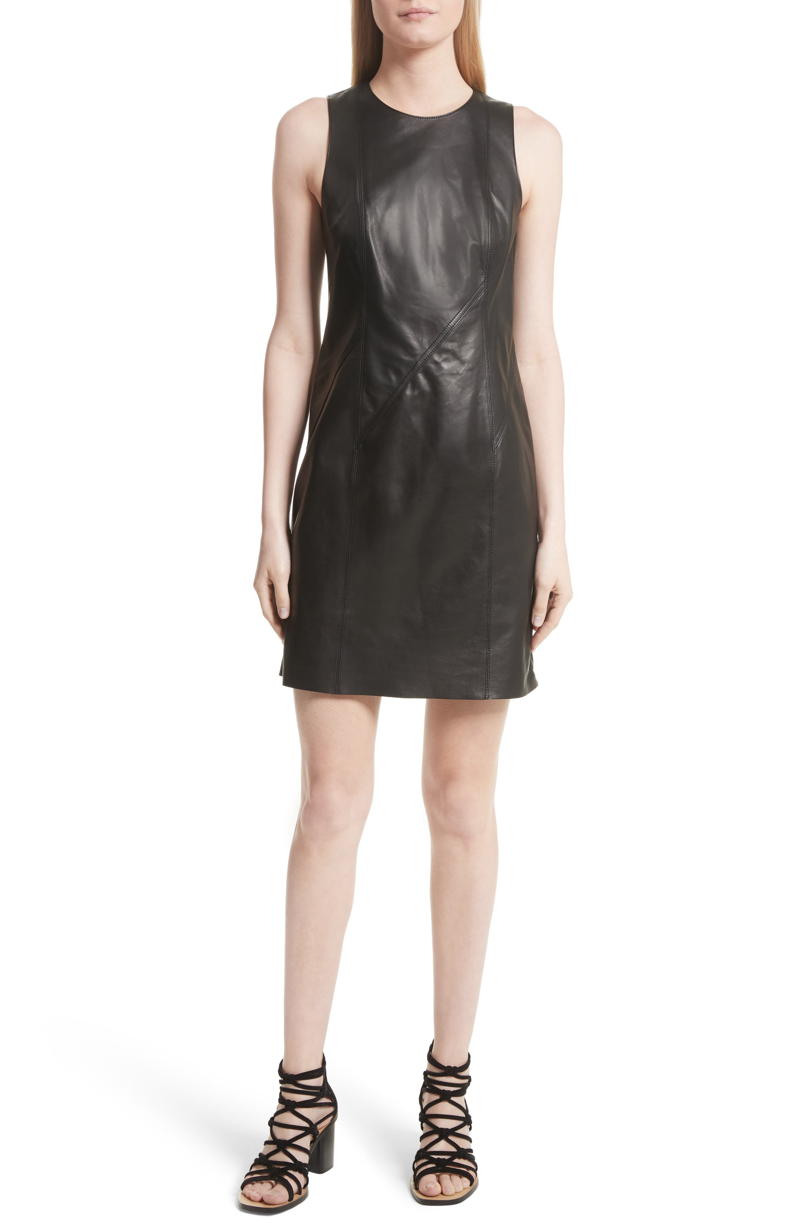 Loxley Leather Dress,                             Main thumbnail 1, color,                             Black