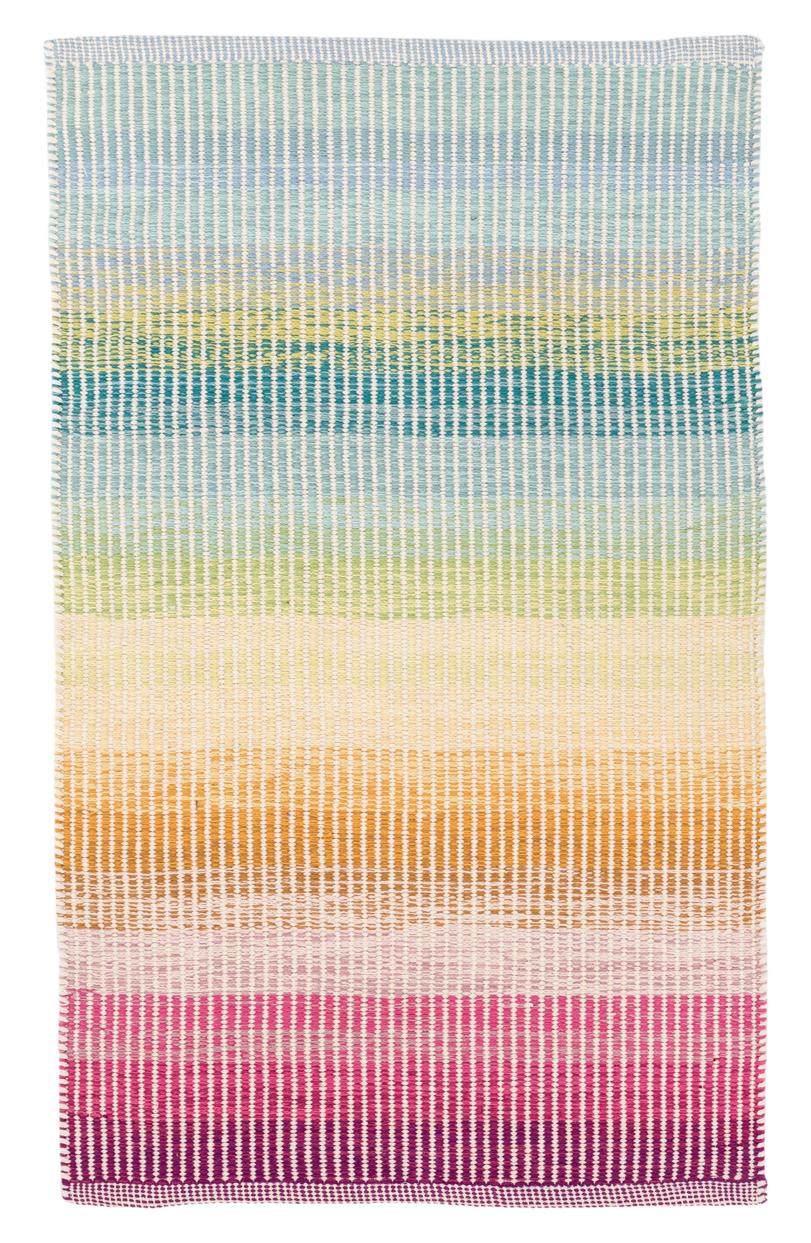 Watercolor Horizon Handwoven Cotton Rug,                         Main,                         color, Blue