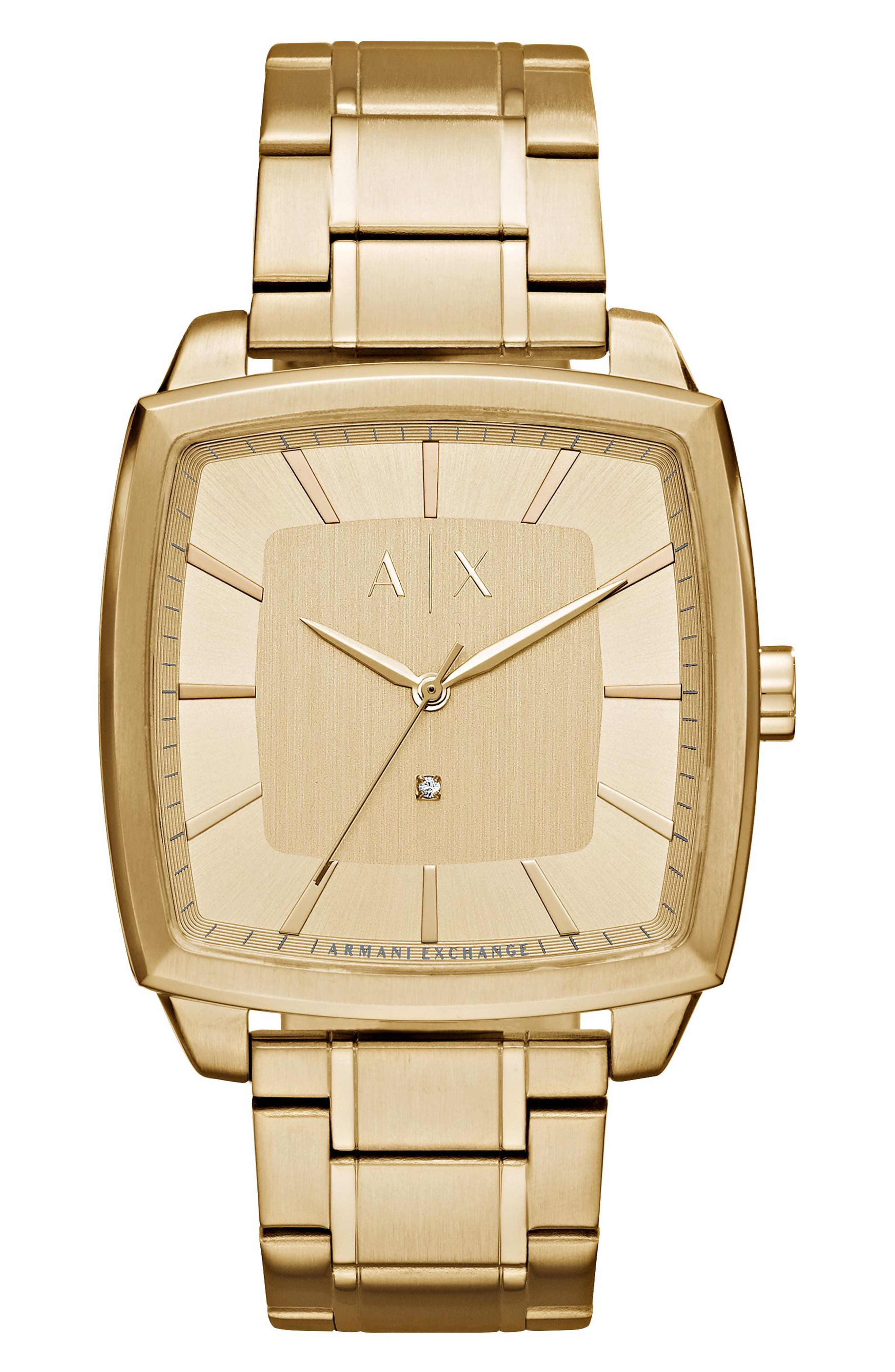 Square Bracelet Watch, 44mm,                             Main thumbnail 1, color,                             Gold/ Gold