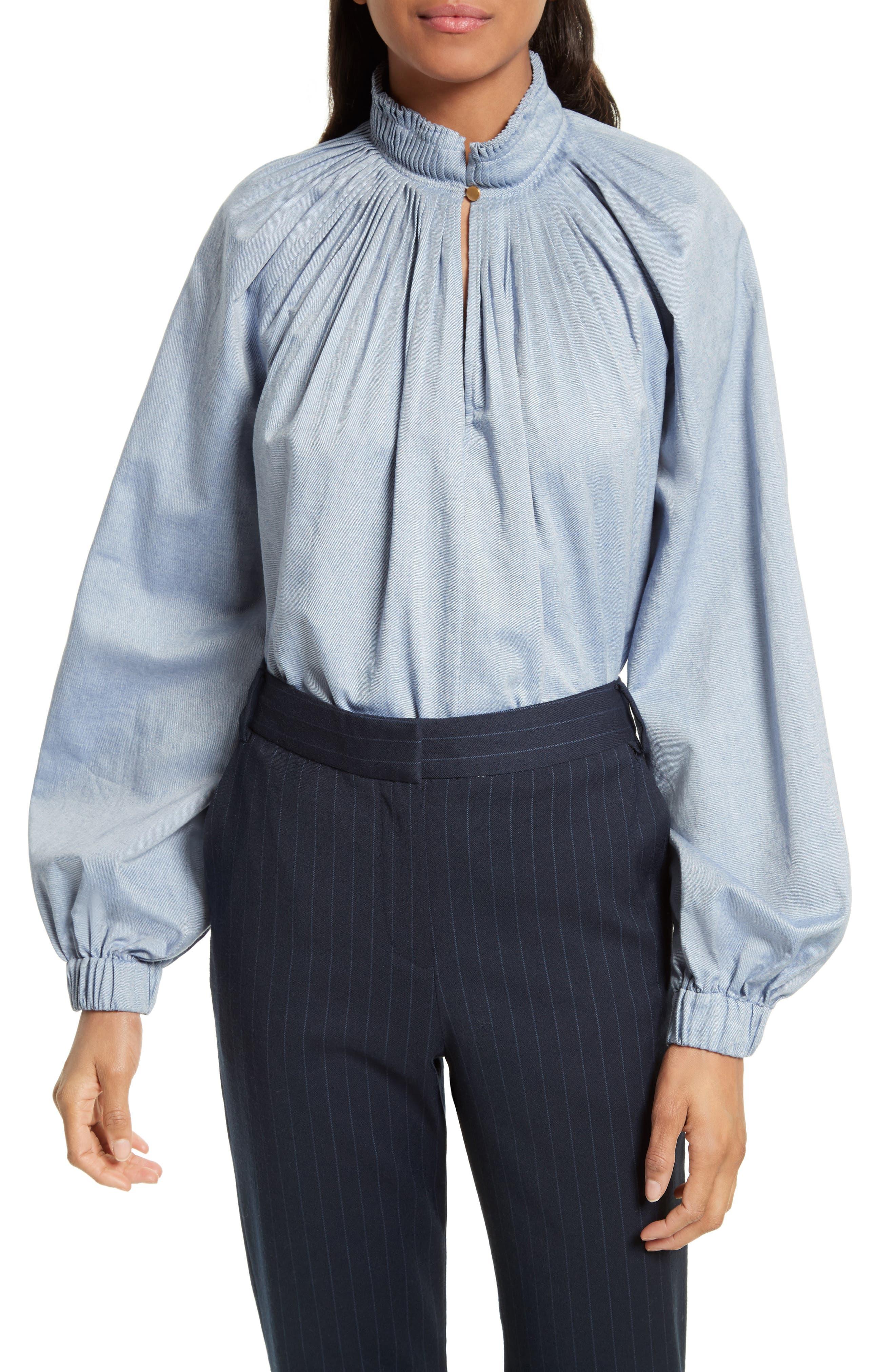 Edwardian Chambray Top,                         Main,                         color, Blue