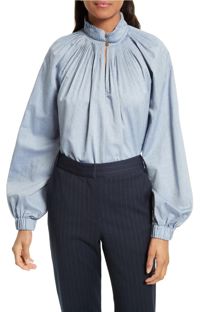 Tibi edwardian chambray top nordstrom for Chambray top