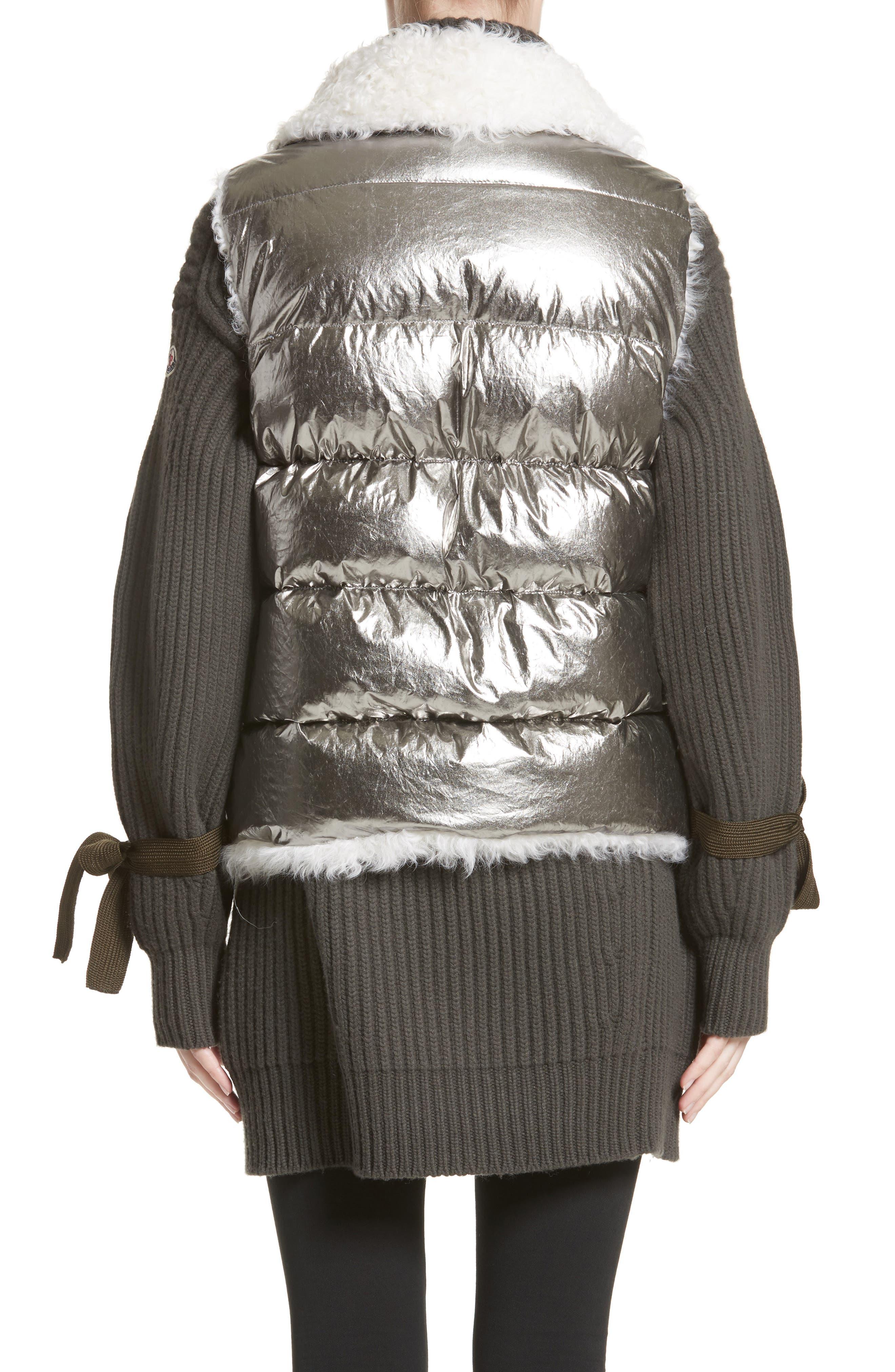 Kerria Metallic Down Vest with Genuine Shearling Trim,                             Alternate thumbnail 2, color,                             Silver