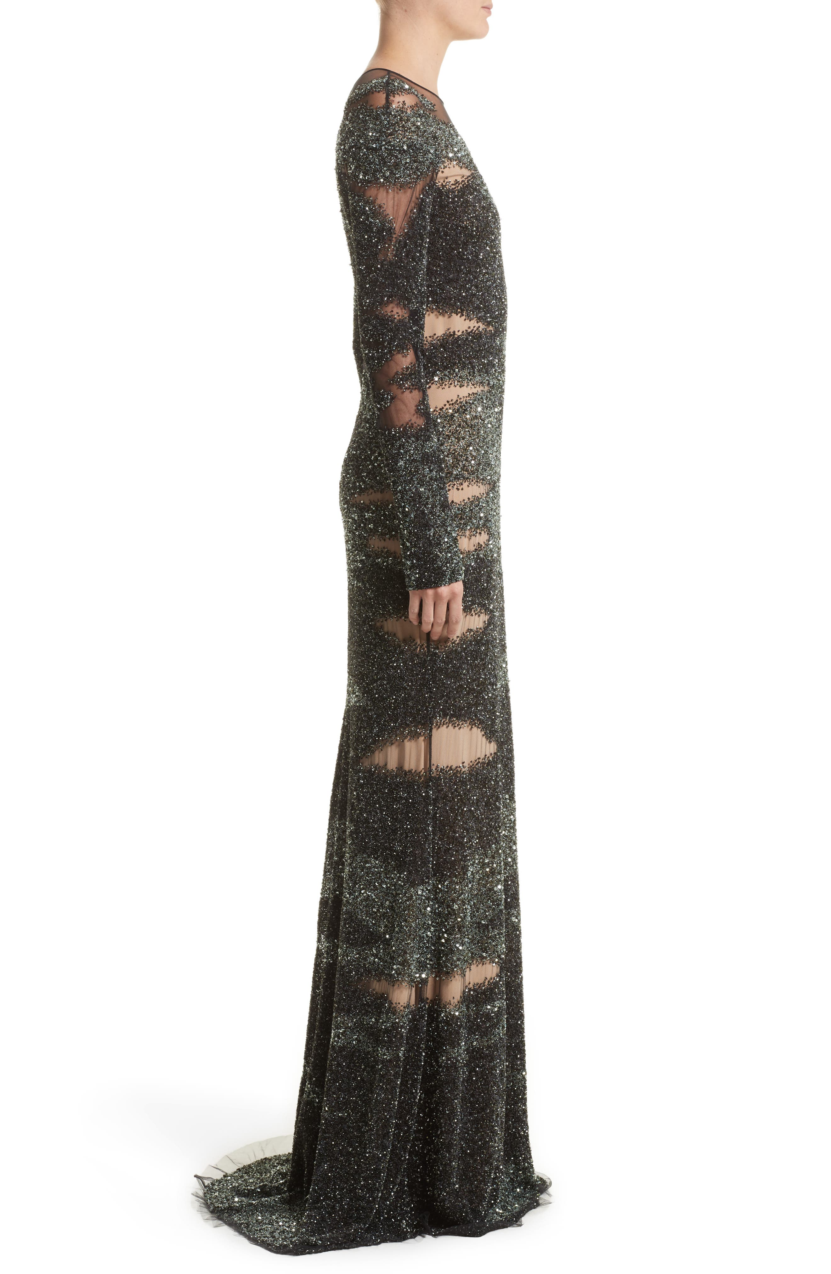Brushstroke Sequin Long Sleeve Gown,                             Alternate thumbnail 3, color,                             Moss/Gunmetal