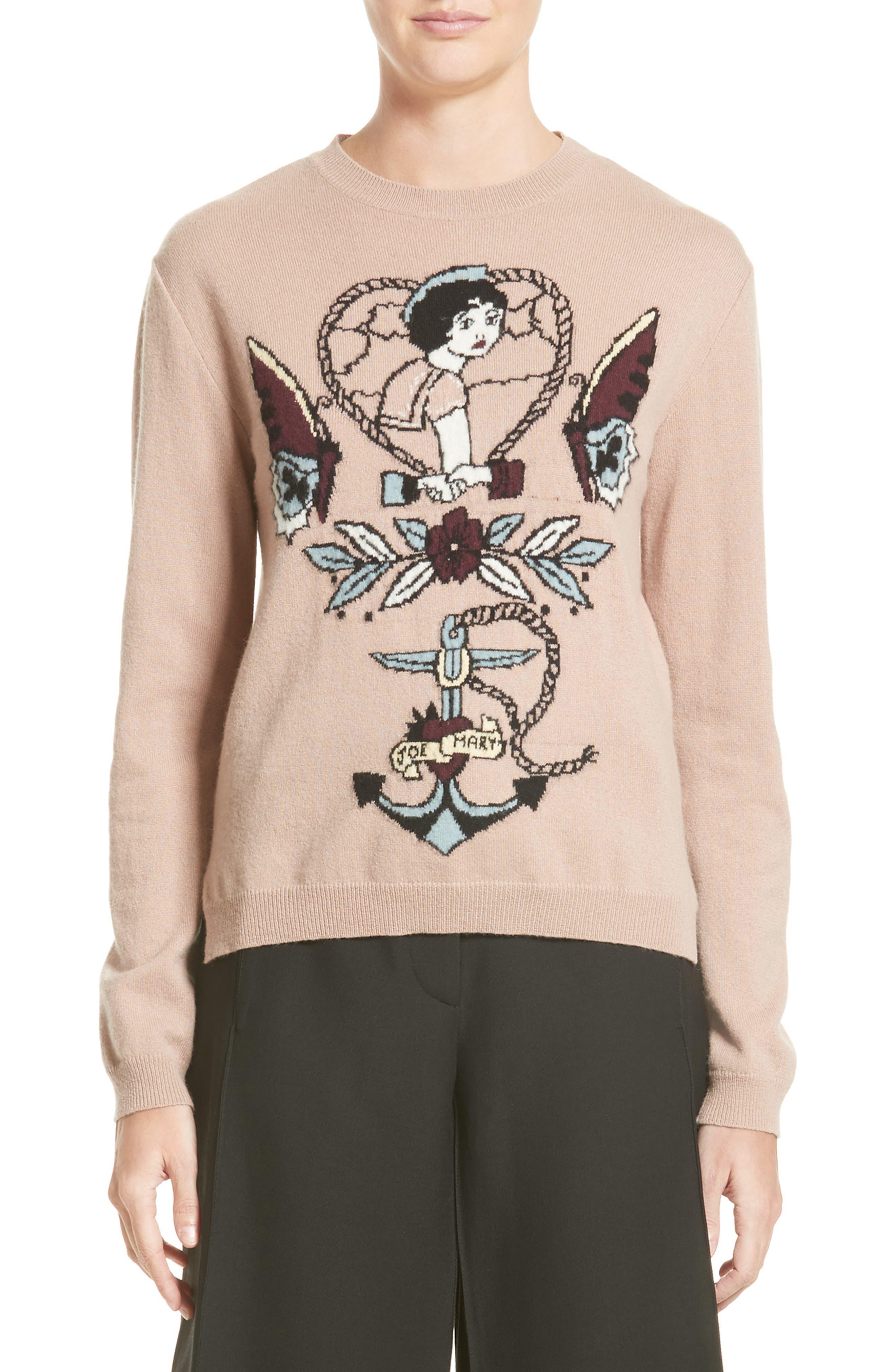 Tattoo Intarsia Wool & Cashmere Sweater,                         Main,                         color, Nude