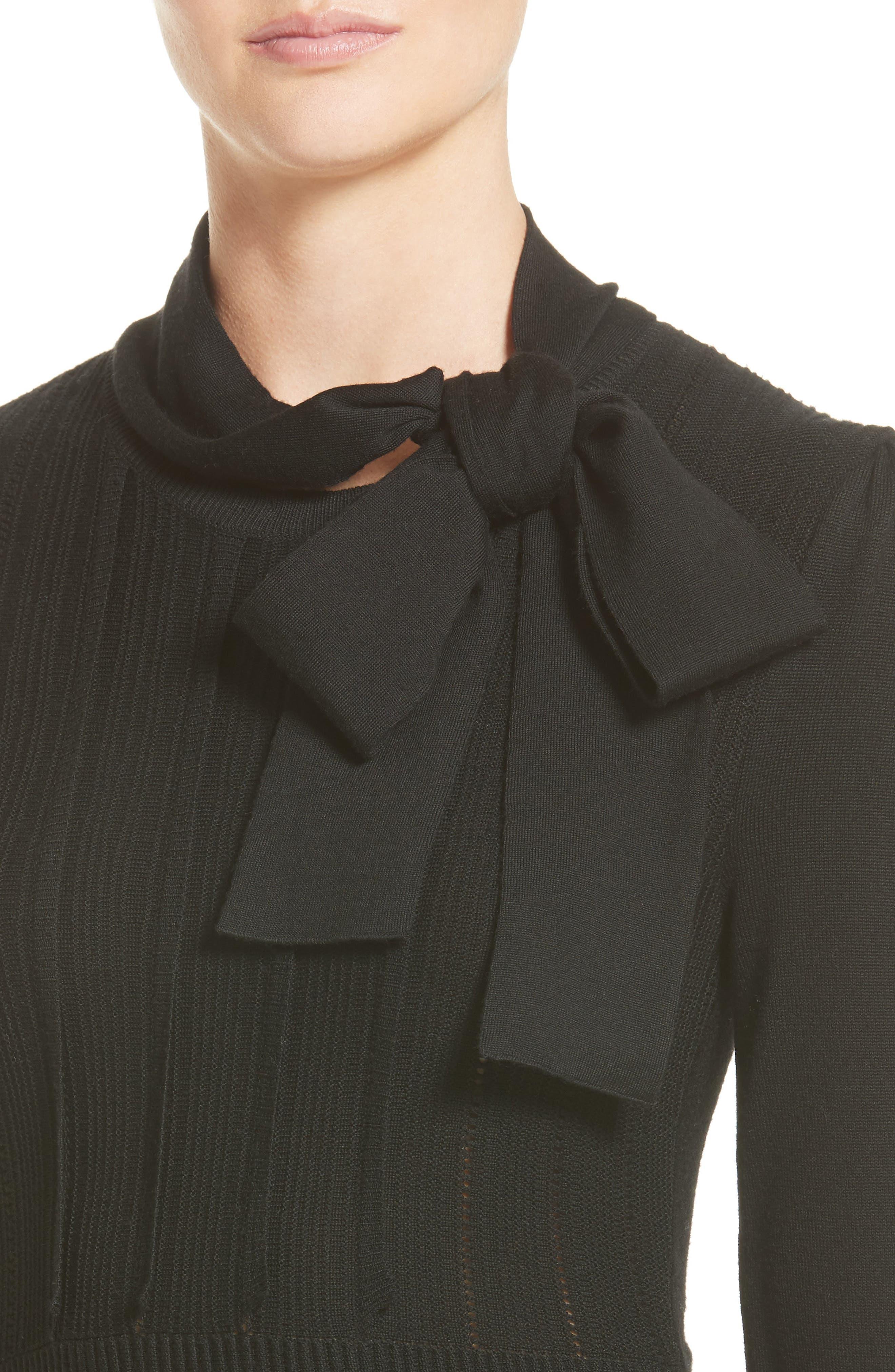 Ruffle Skirt Wool Knit Dress,                             Alternate thumbnail 7, color,                             Black