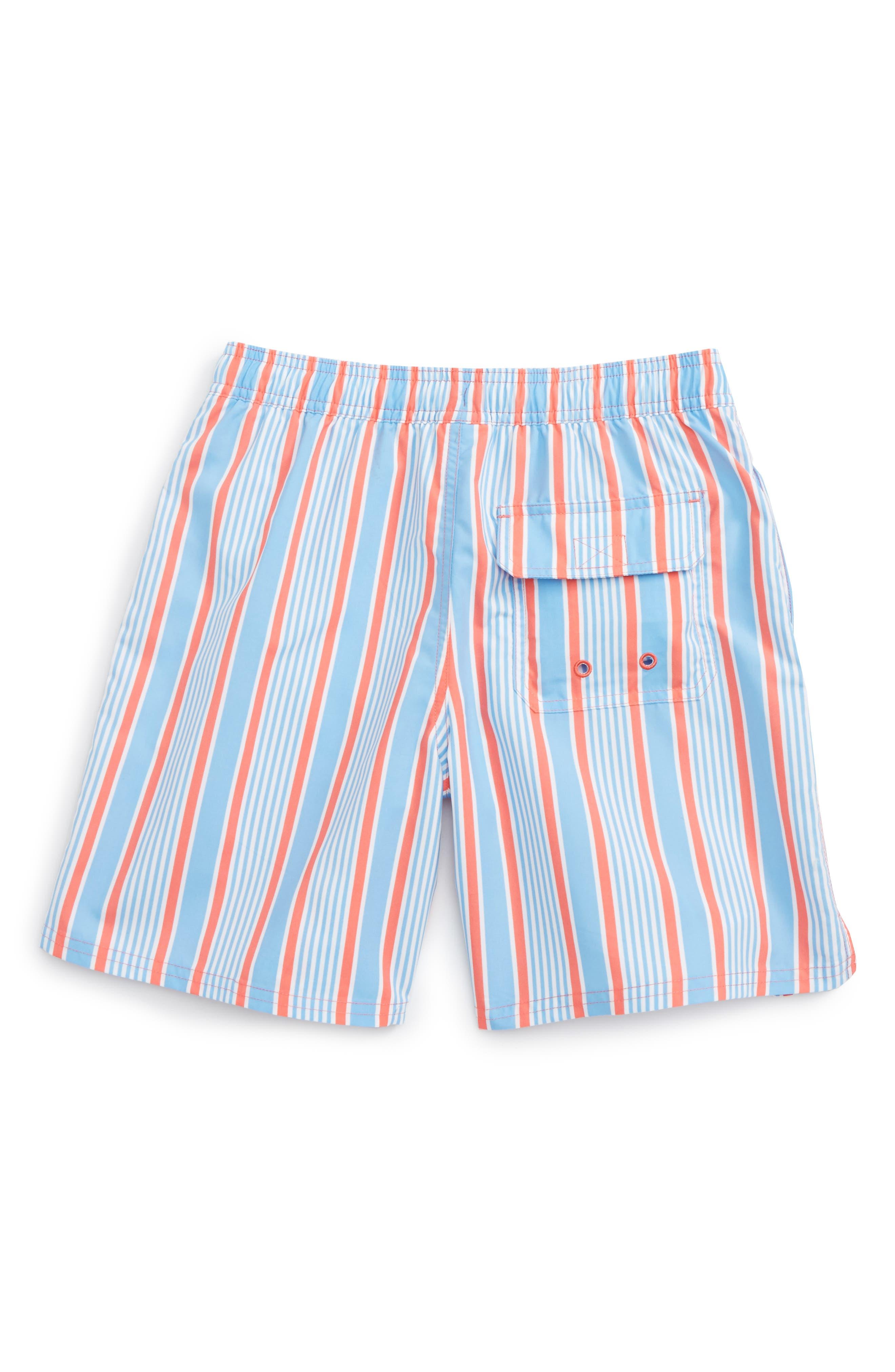 Stripe Bungalow Swim Trunks,                             Alternate thumbnail 2, color,                             Mai Tai