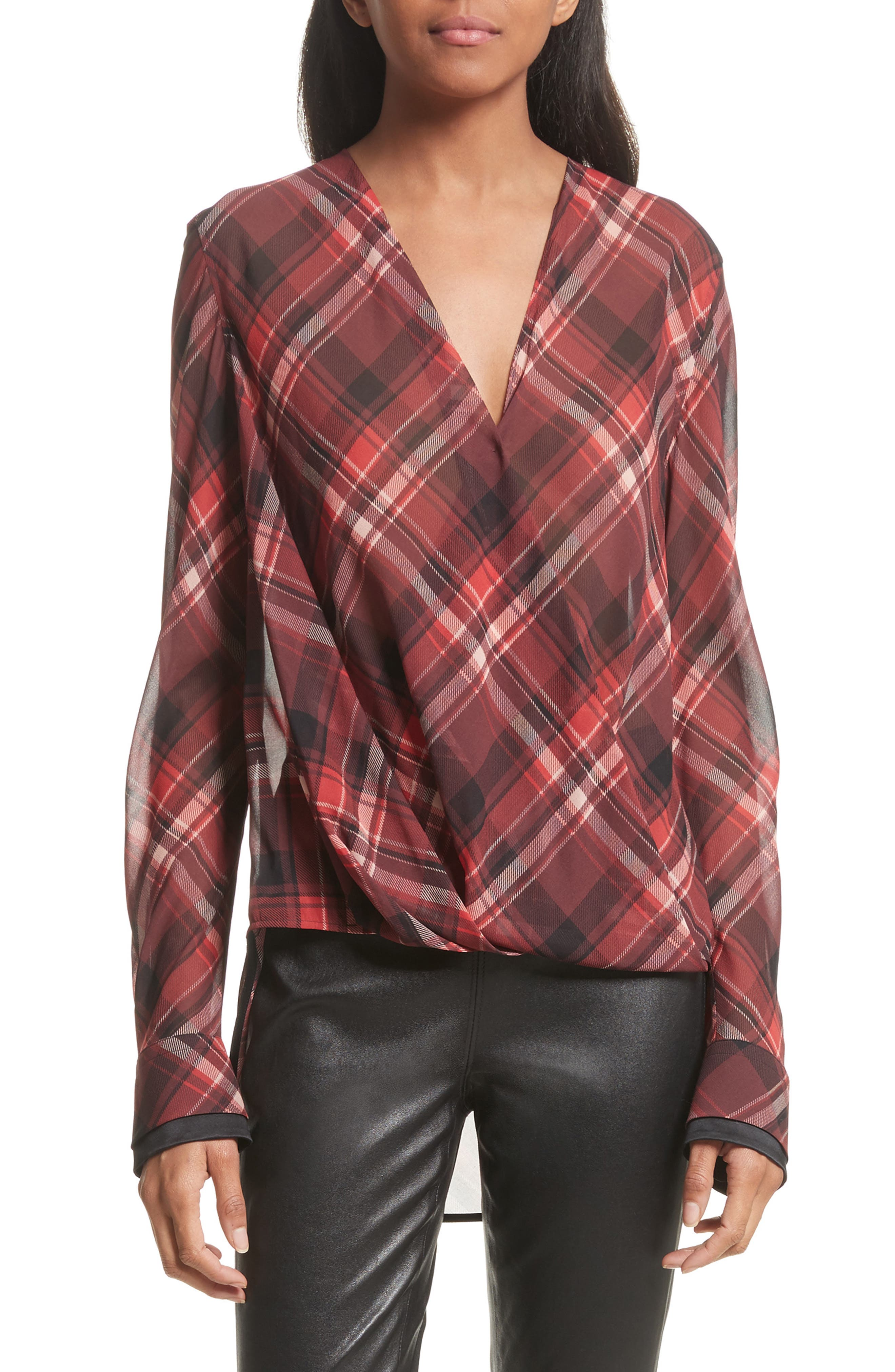 Victor Stretch Silk Blouse,                             Main thumbnail 1, color,                             Red Plaid